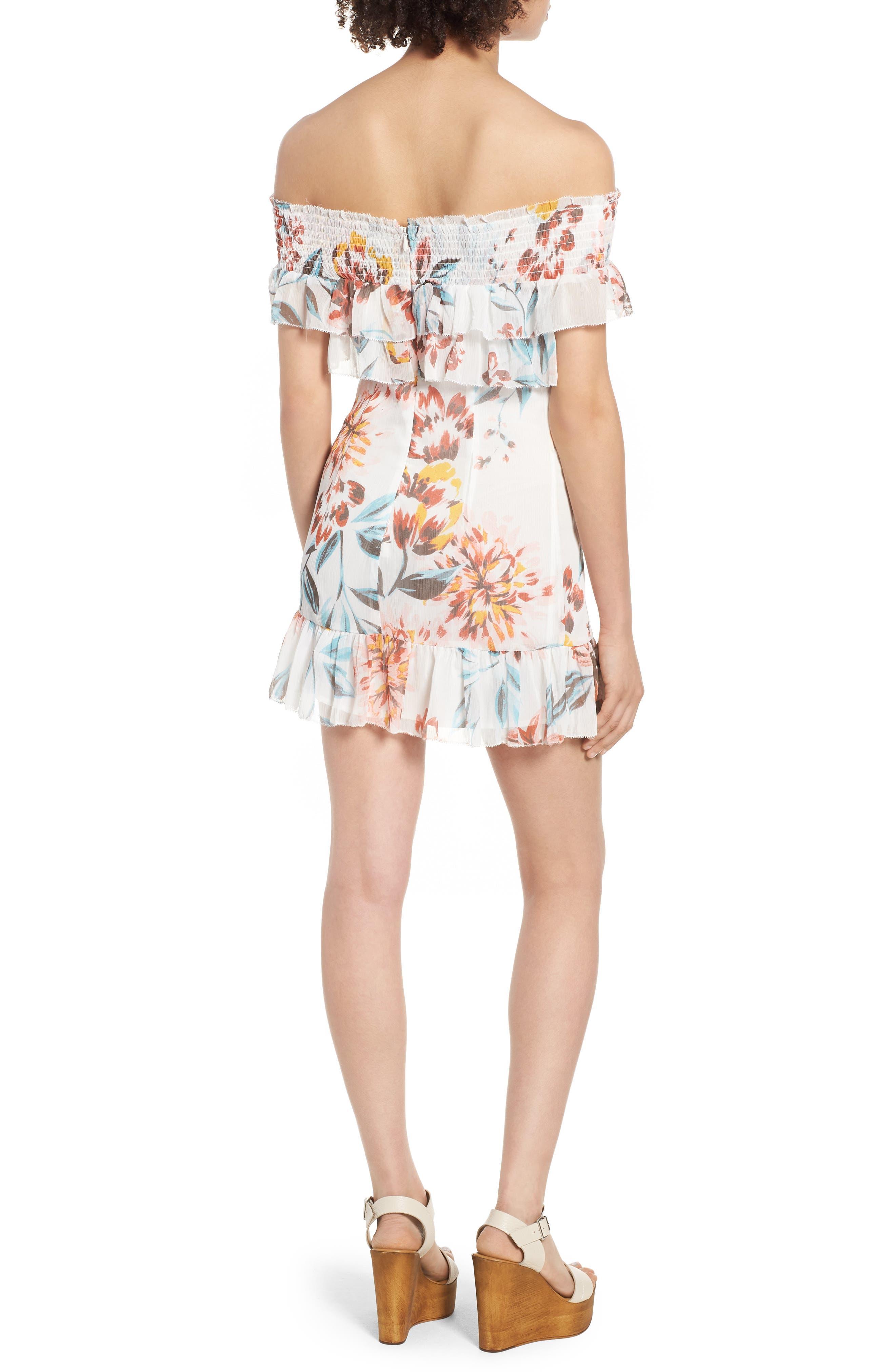 Lanzo Off the Shoulder Dress,                             Alternate thumbnail 2, color,                             Dahlia Floral