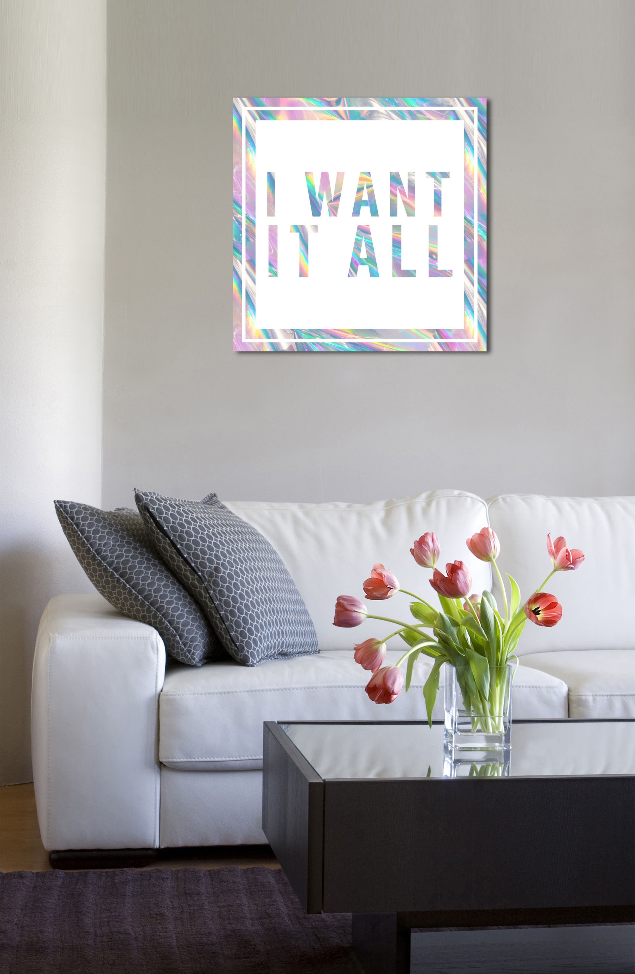 I Want It All Canvas Wall Art,                             Alternate thumbnail 4, color,                             White