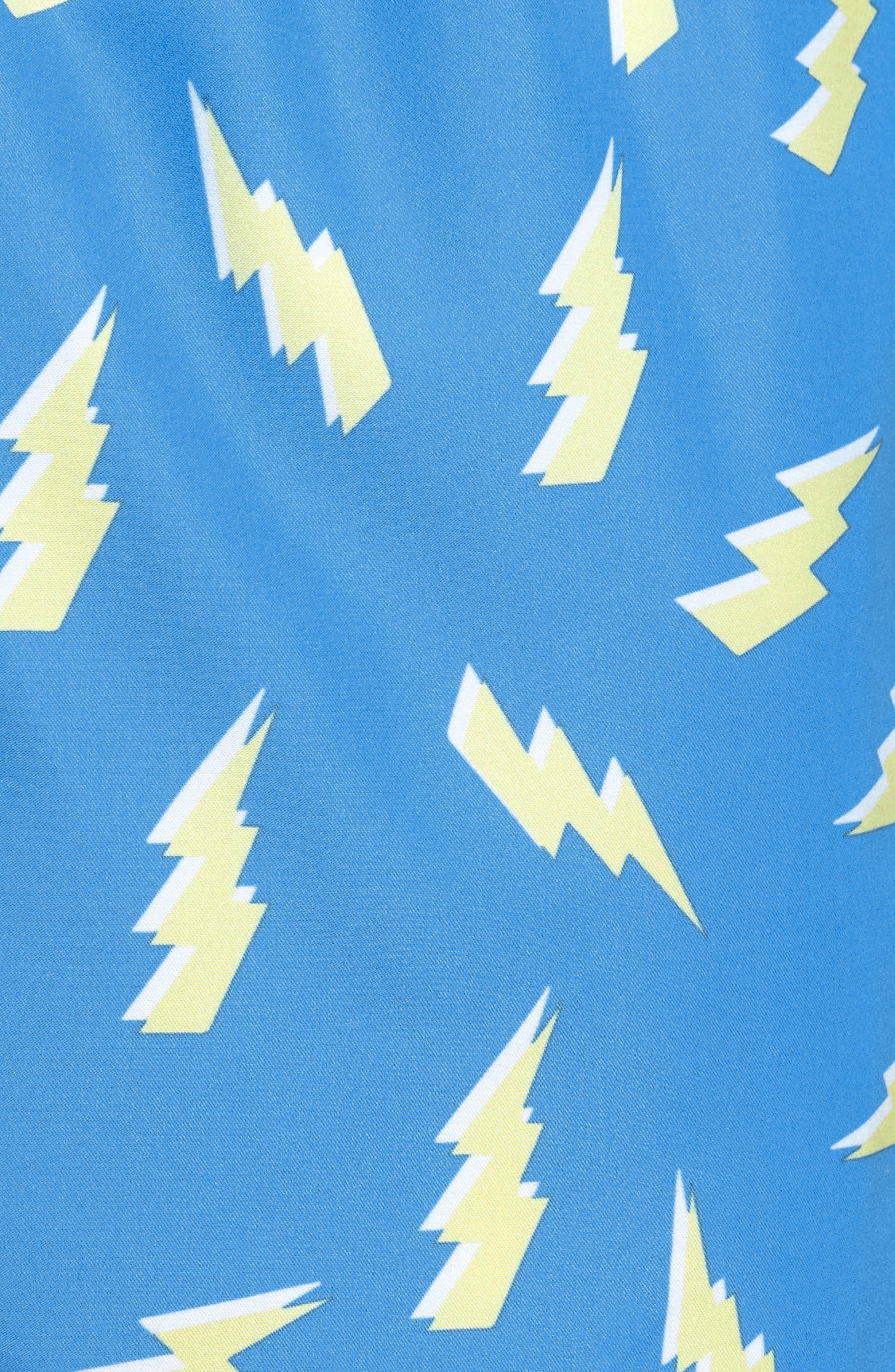 Zaps Print Swim Trunks,                             Alternate thumbnail 5, color,                             Blue