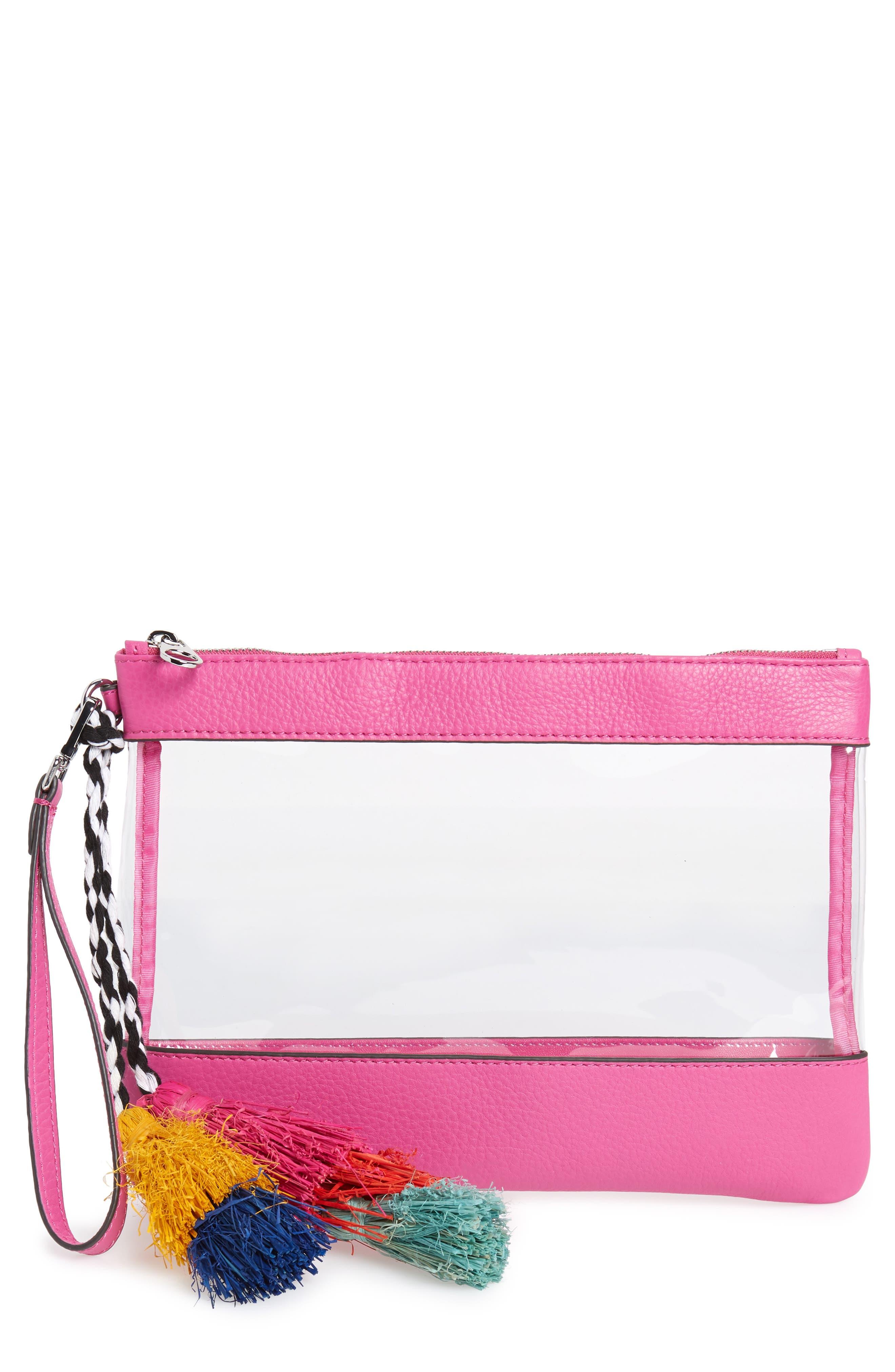 Thore Clear Tassel Wristlet Clutch,                             Main thumbnail 1, color,                             Phlox Pink/ Clear
