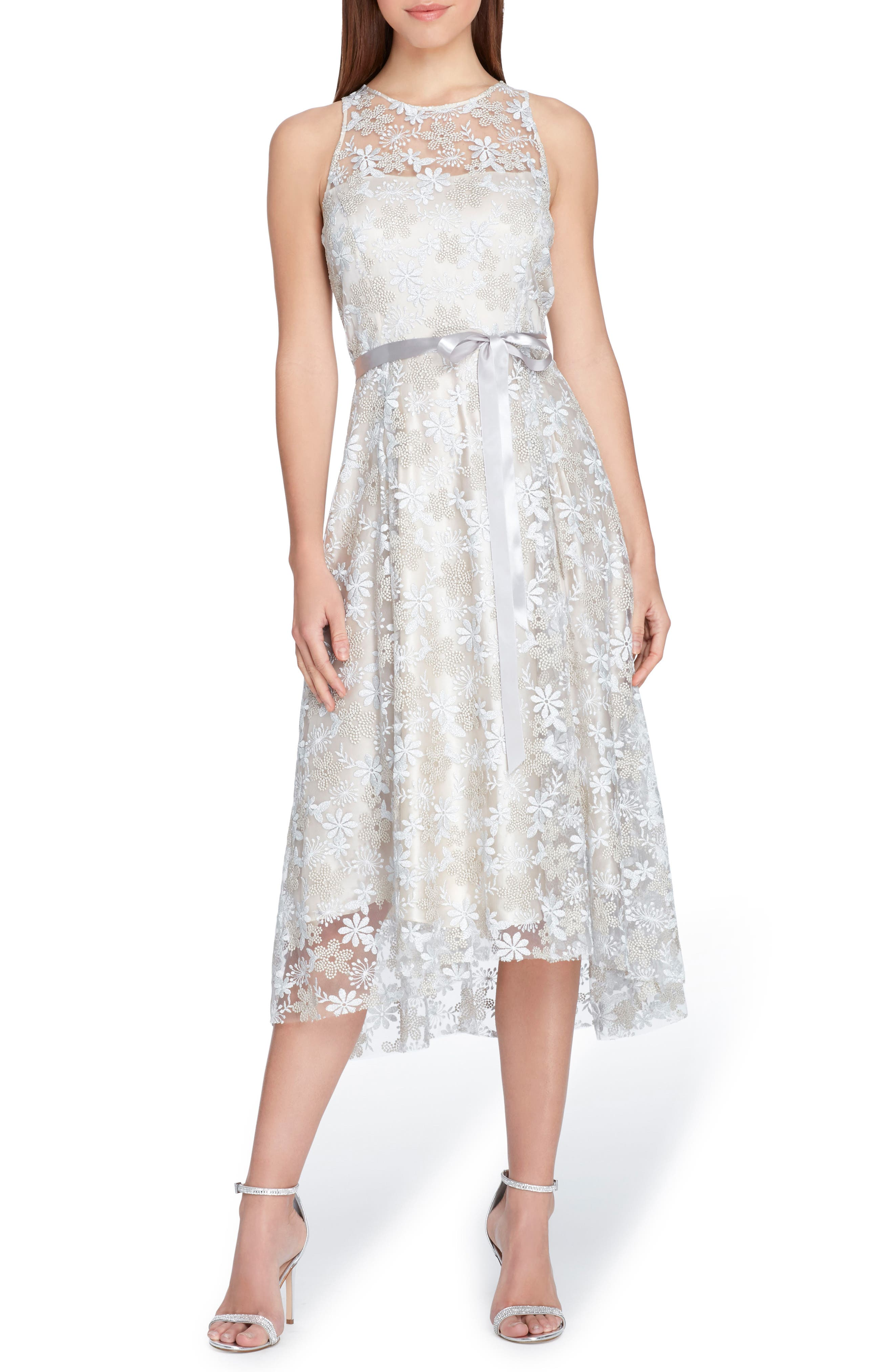 Sleeveless Embroidered Midi Dress,                             Main thumbnail 1, color,                             Silver/ Champagne