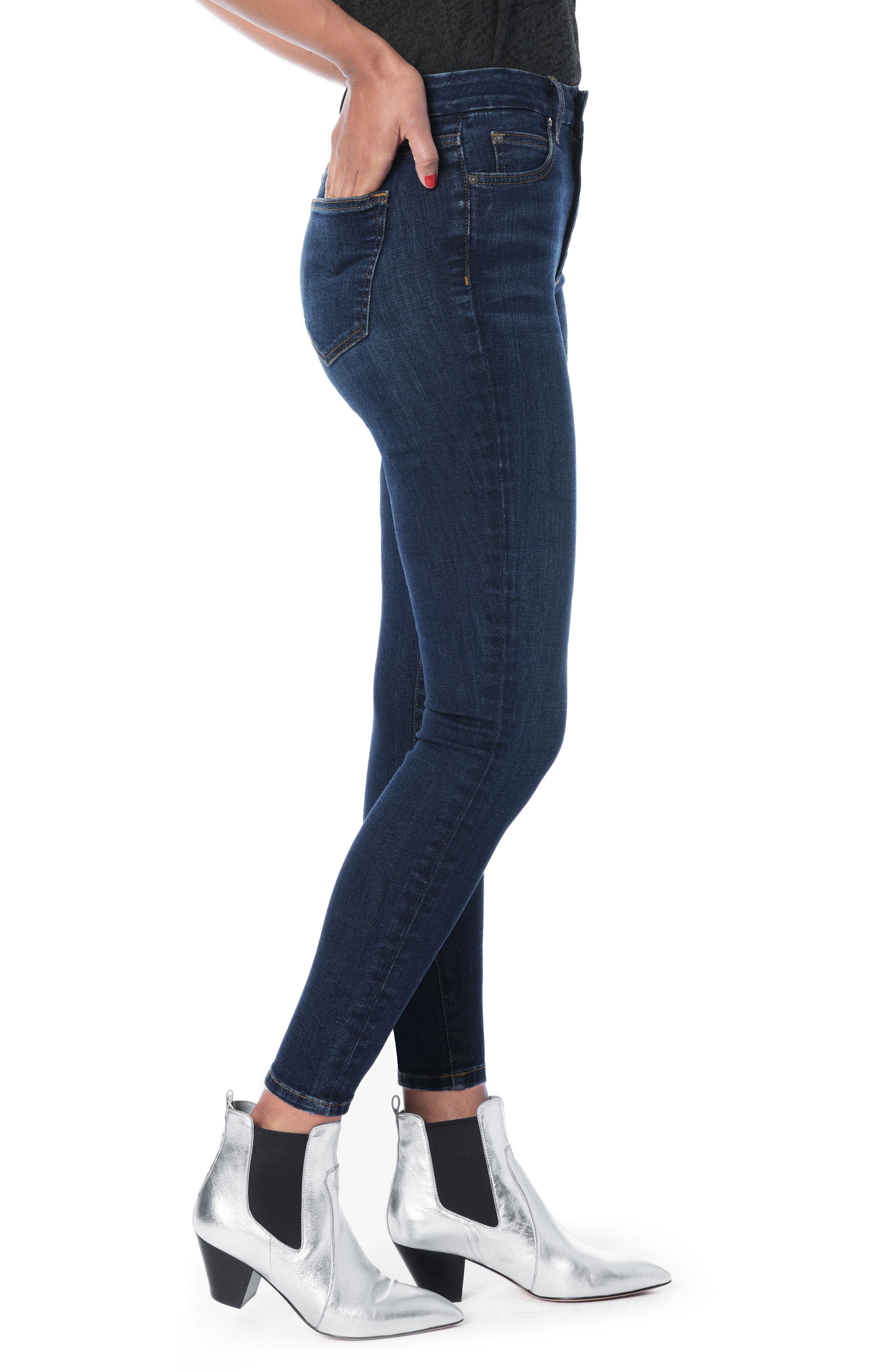 Hi Rise Honey Curvy Skinny Ankle Jeans,                             Alternate thumbnail 4, color,                             Nurie
