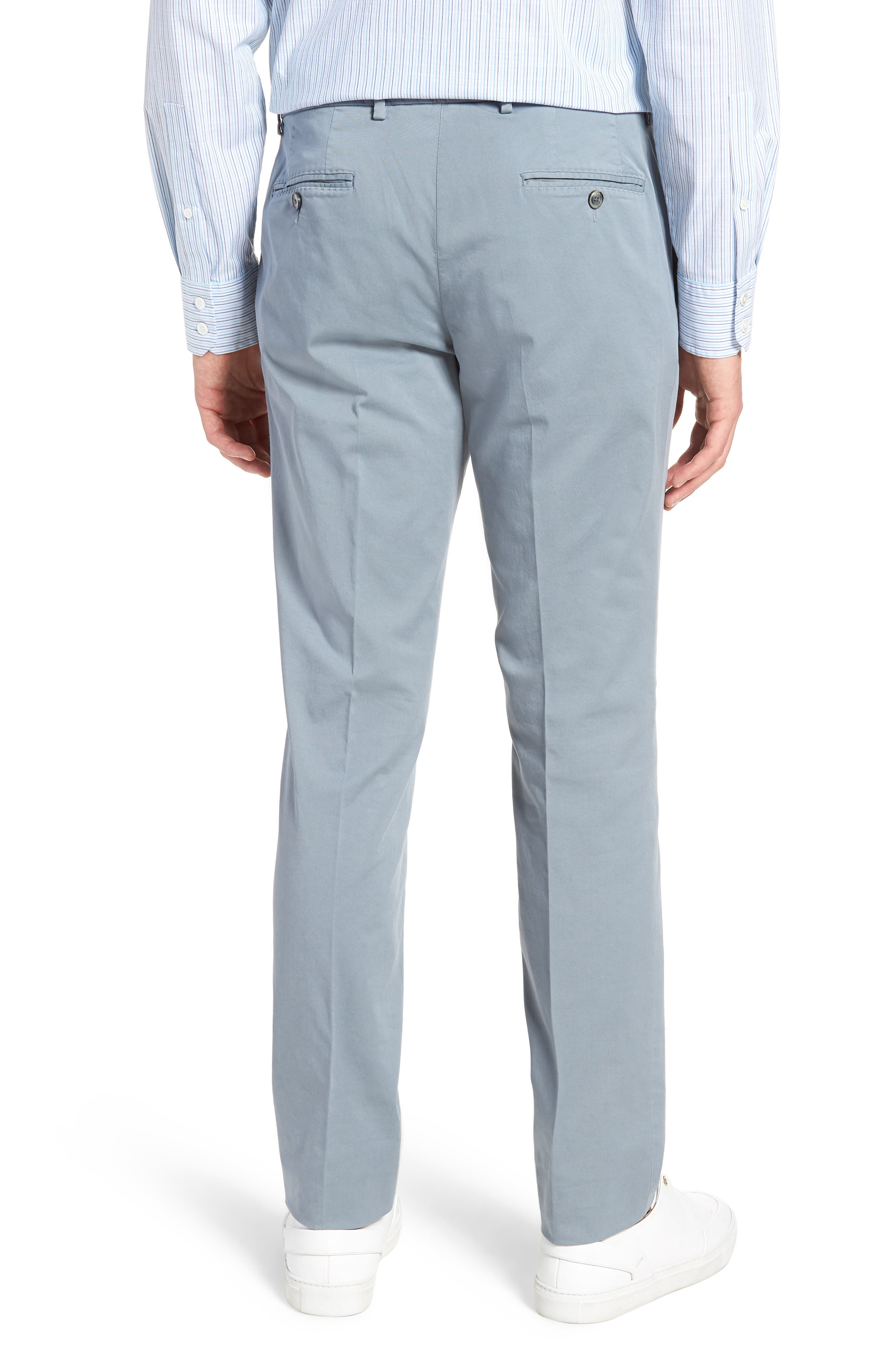 Barlow-D Flat Front Stretch Solid Cotton Trousers,                             Alternate thumbnail 2, color,                             Blue
