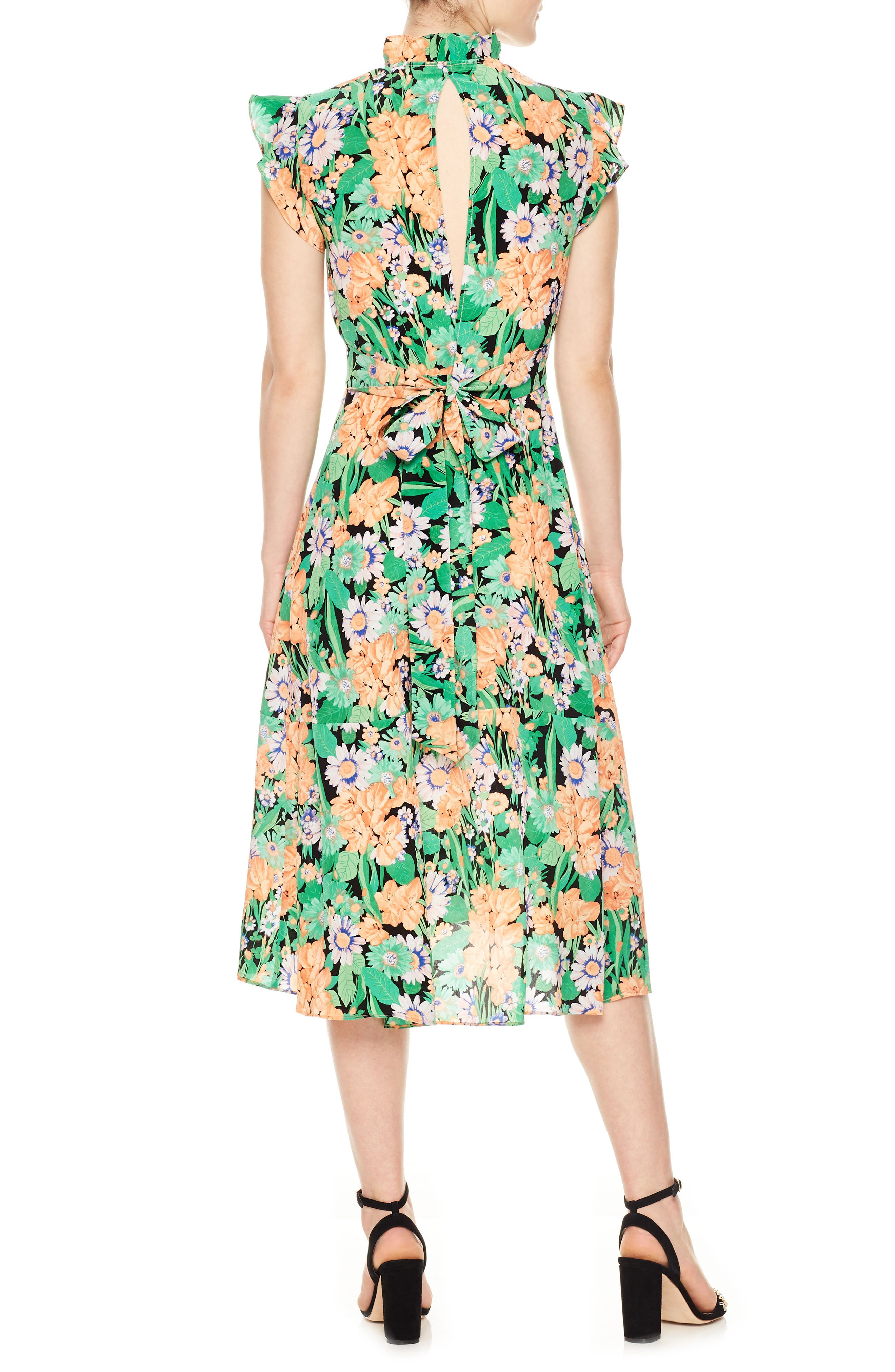 Ruffle Neck Floral Silk Dress,                             Alternate thumbnail 2, color,                             Vert