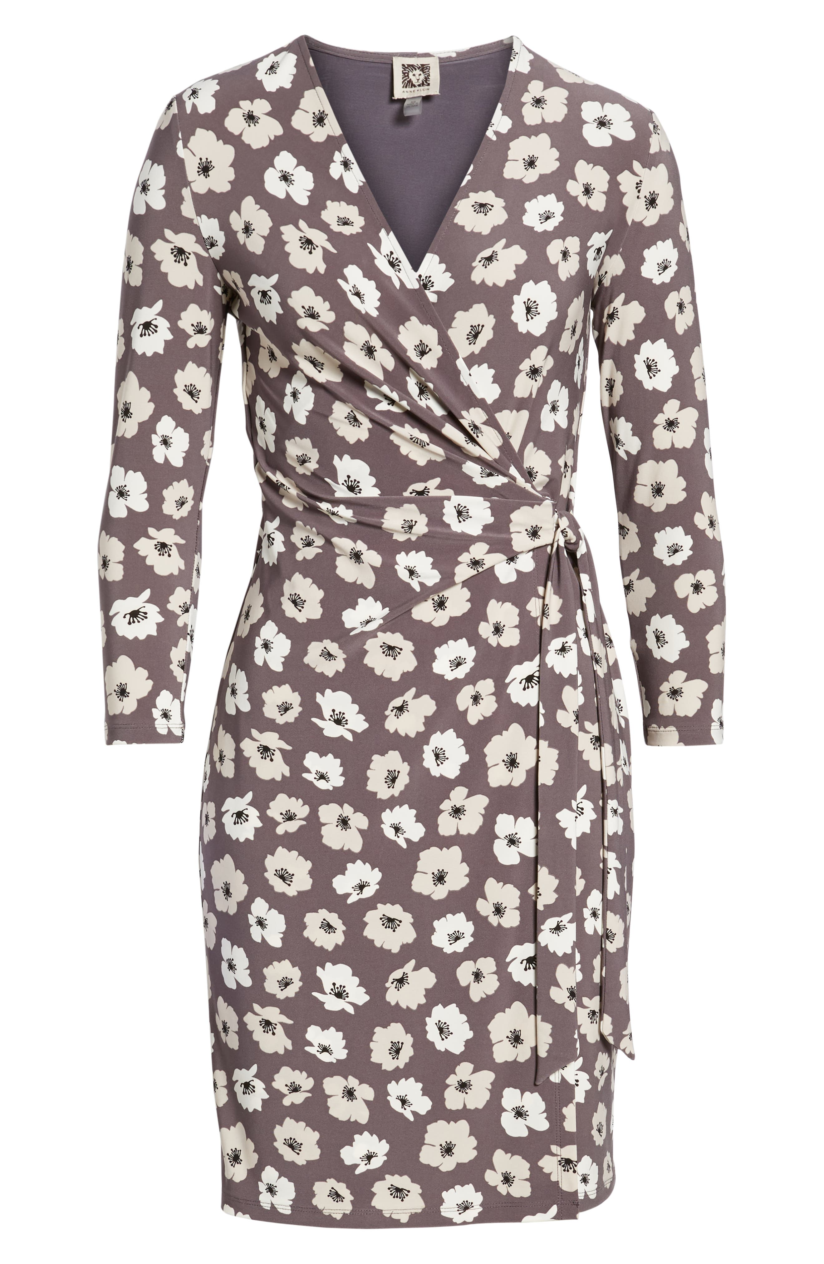 Floral Faux Wrap Dress,                             Alternate thumbnail 7, color,                             Nantucket Grey/ Oyster Shell