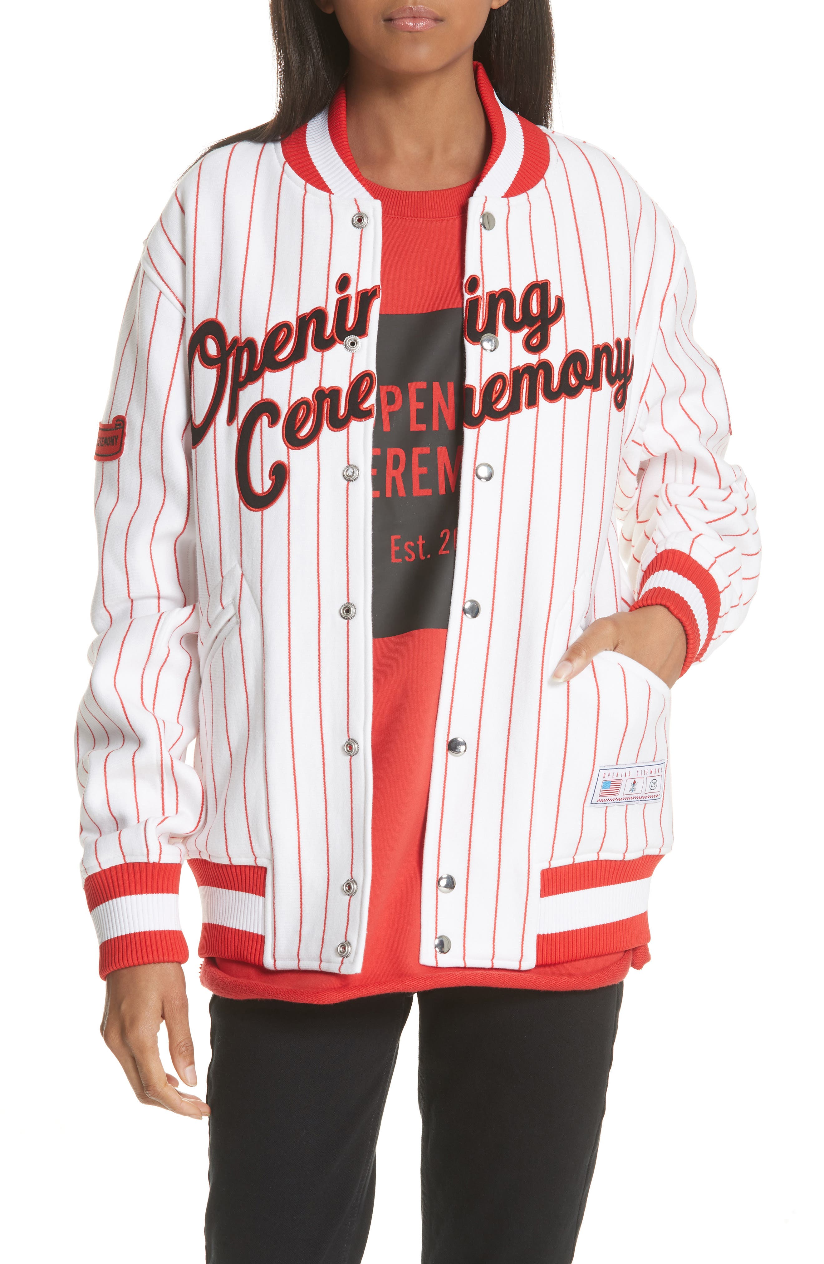 Pinstripe Varsity Jacket,                         Main,                         color, White