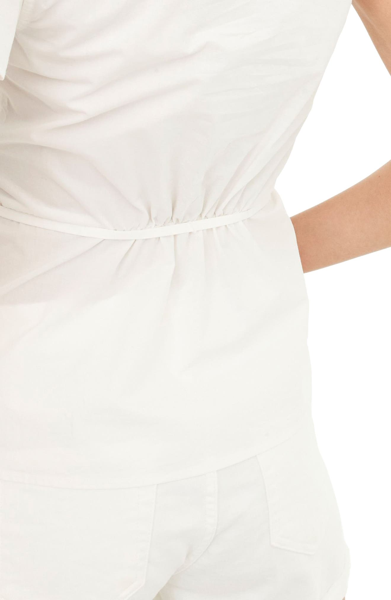 Flutter Sleeve Cotton Poplin Wrap Top,                             Alternate thumbnail 2, color,                             White