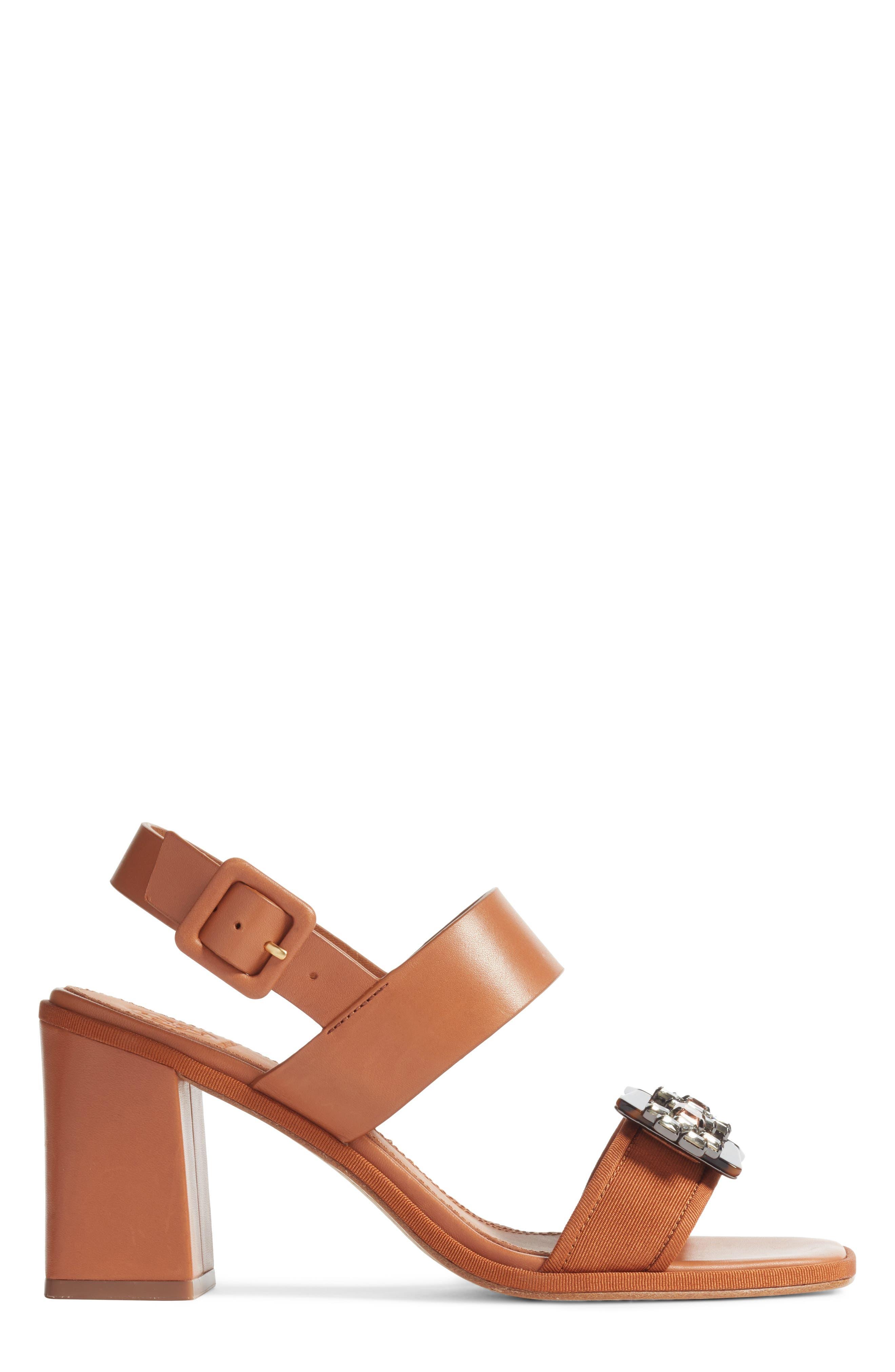 Delaney Embellished Double Strap Sandal,                             Alternate thumbnail 3, color,                             Tan/ Tan
