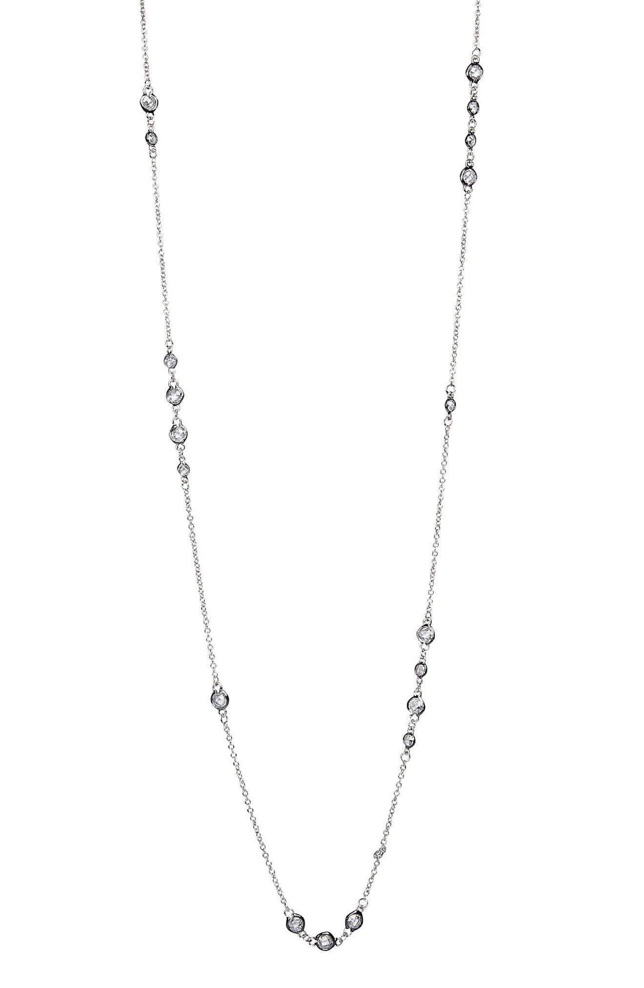 Cluster Bezel Wrap Necklace,                         Main,                         color, Silver