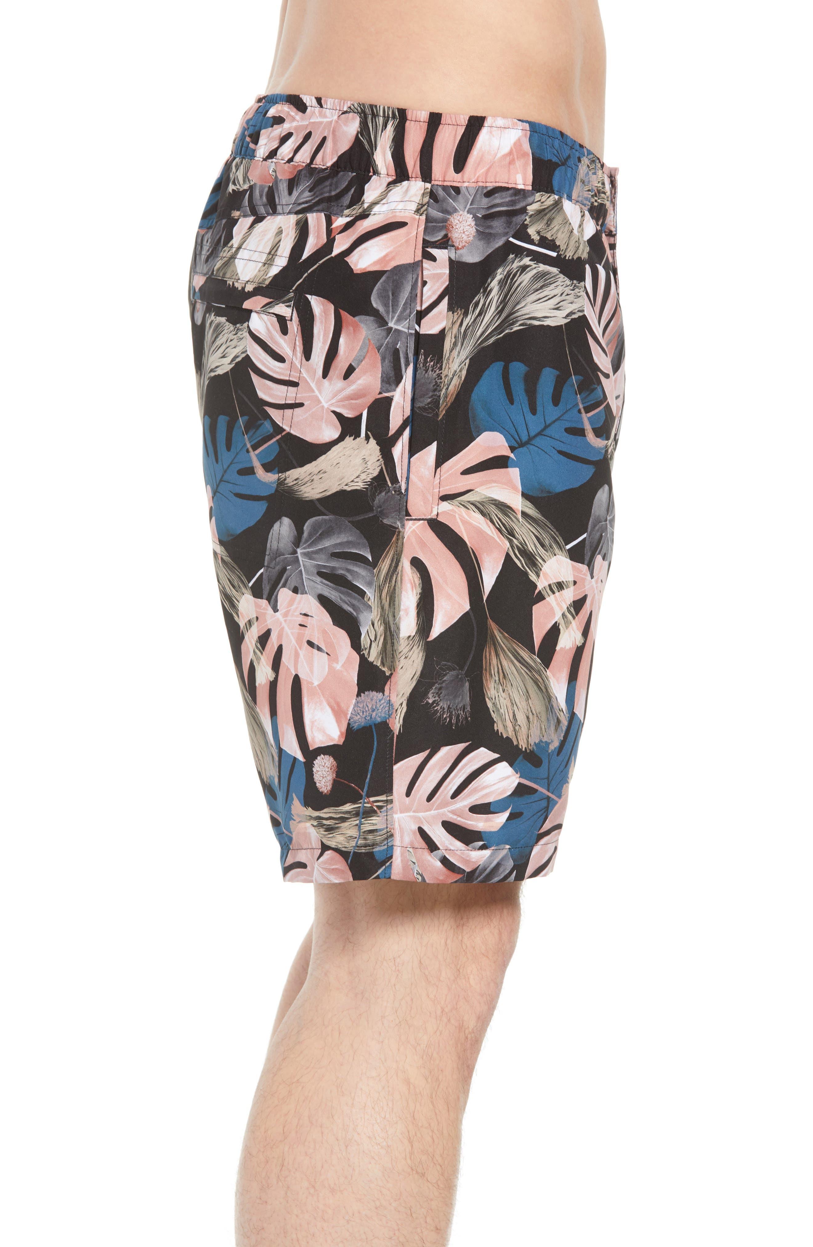 Trent Monstera Swim Shorts,                             Alternate thumbnail 3, color,                             Monstera Print