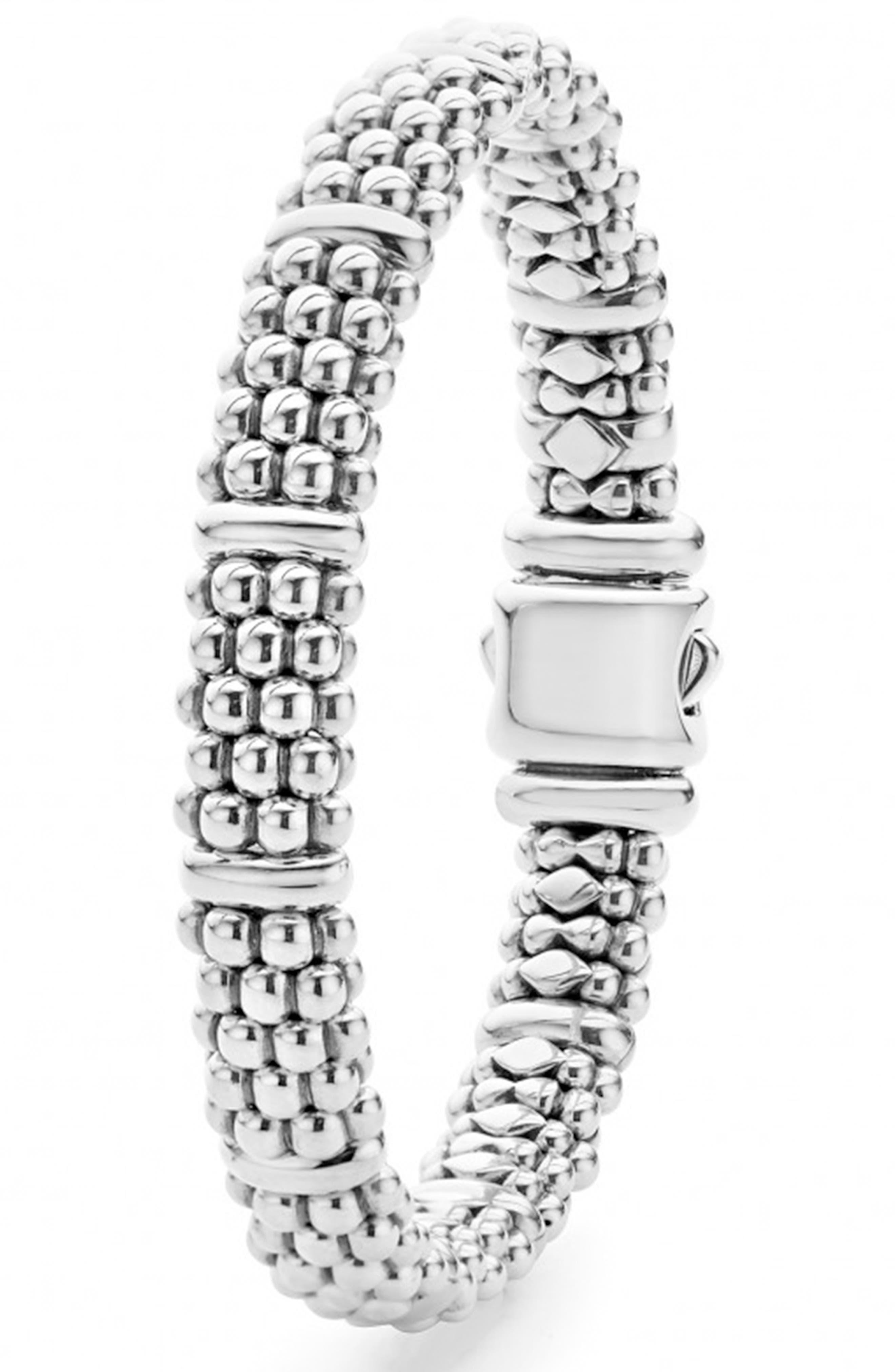 Oval Rope Caviar Bracelet,                             Alternate thumbnail 2, color,                             Silver