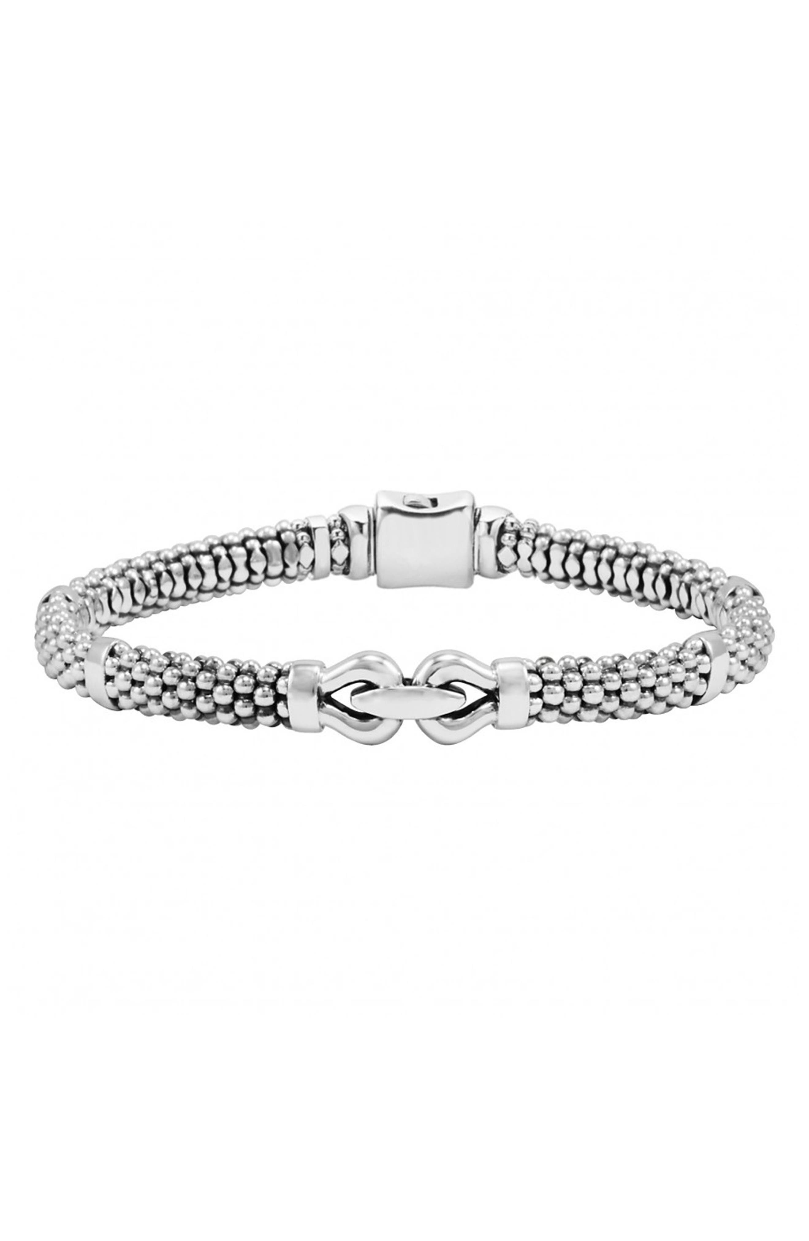 'Derby' Buckle Rope Bracelet,                         Main,                         color, Sterling Silver
