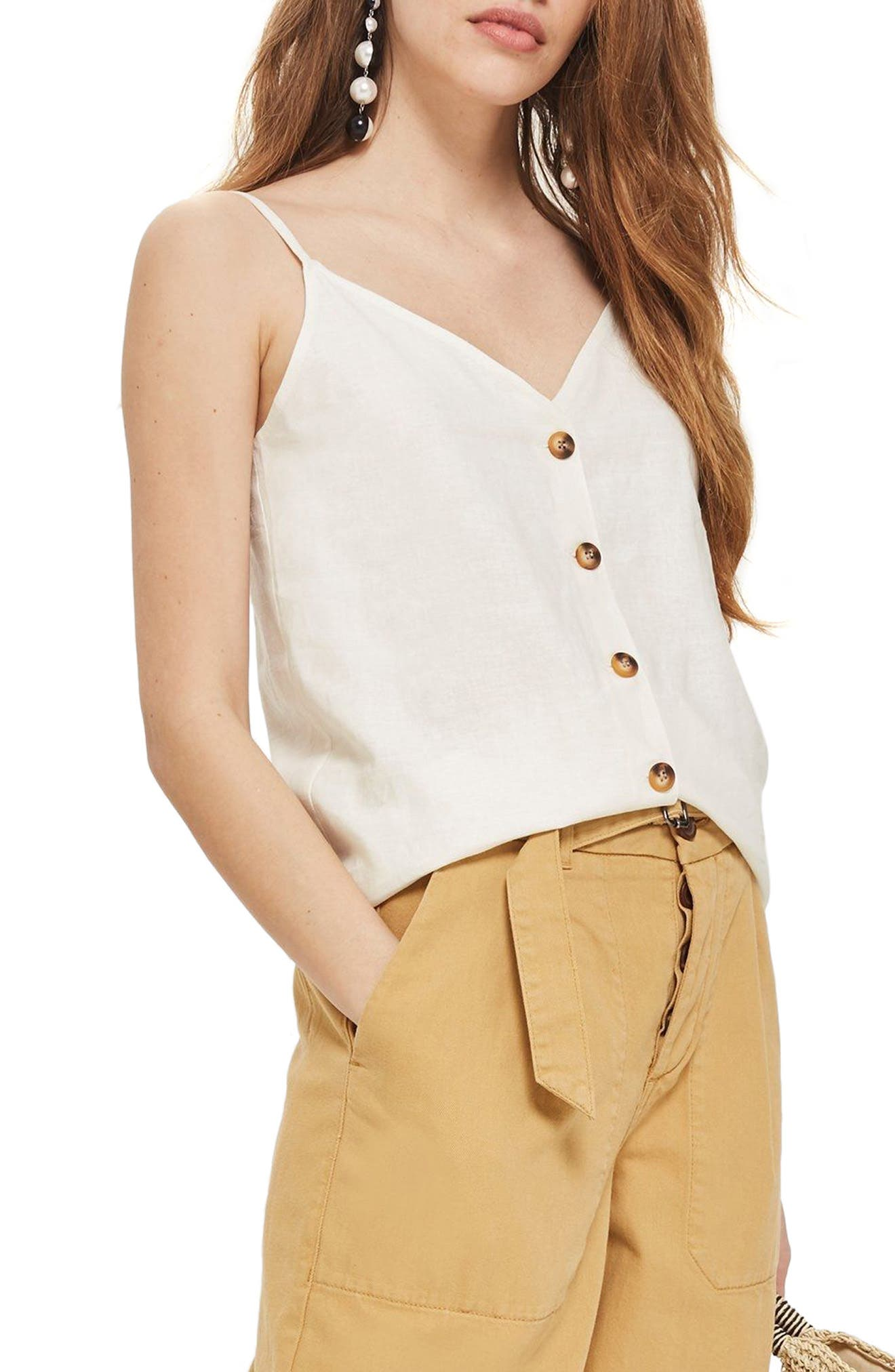 Button Through Camisole Top,                         Main,                         color, Ivory
