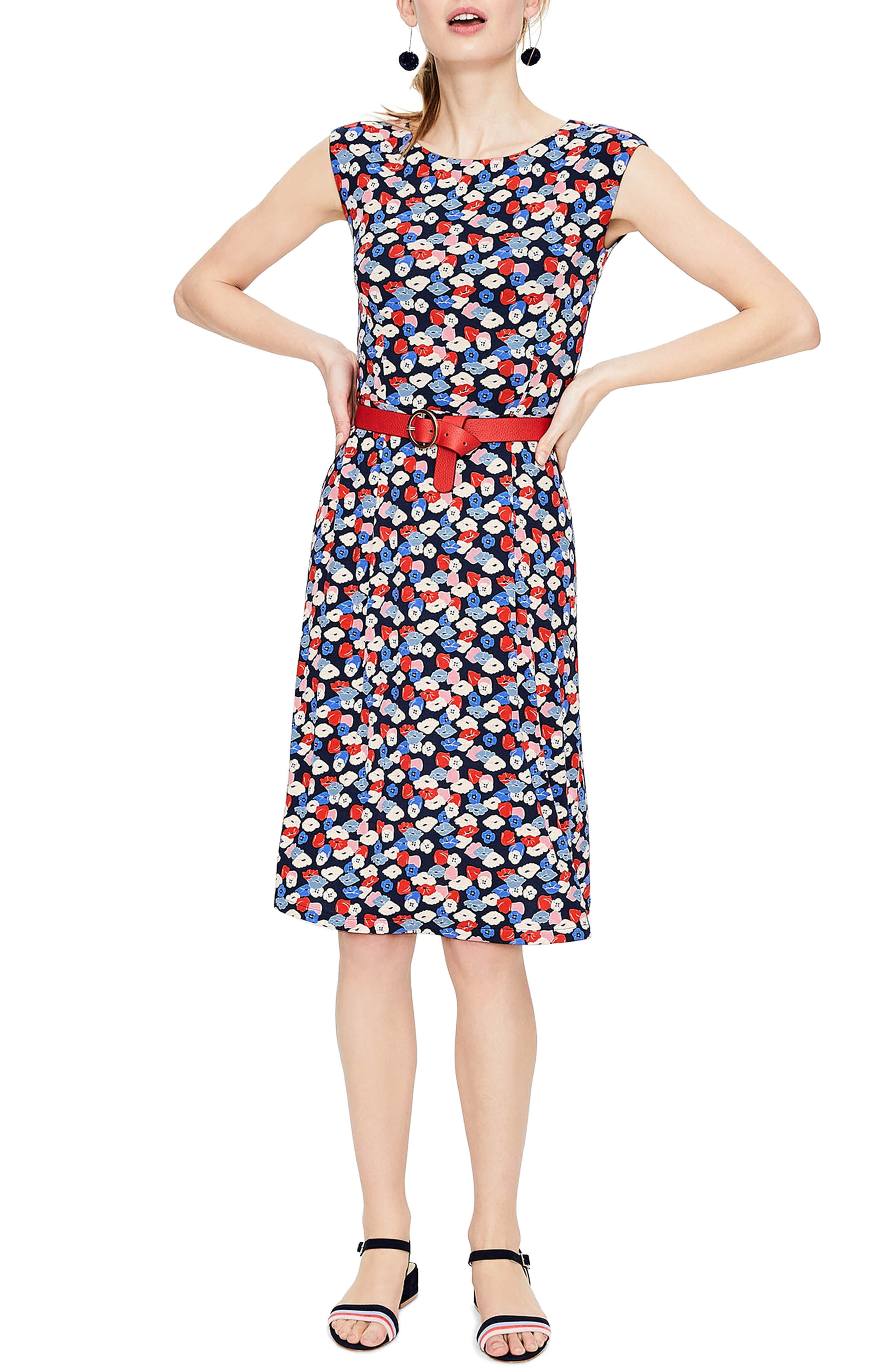 Marina Belted Floral Jersey Dress,                             Main thumbnail 1, color,                             Navy Poppy Meadow