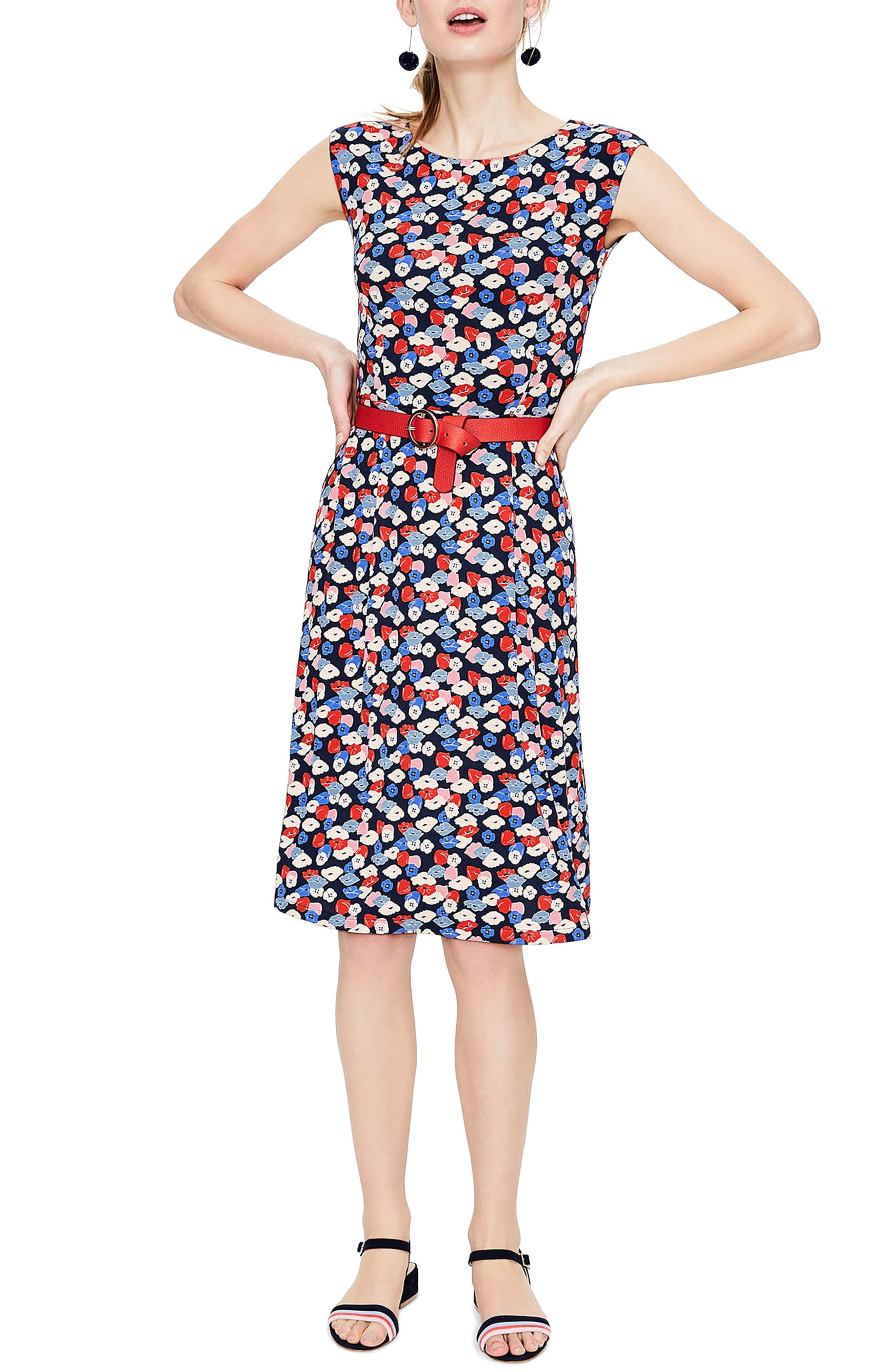 Main Image - Boden Marina Belted Floral Jersey Dress