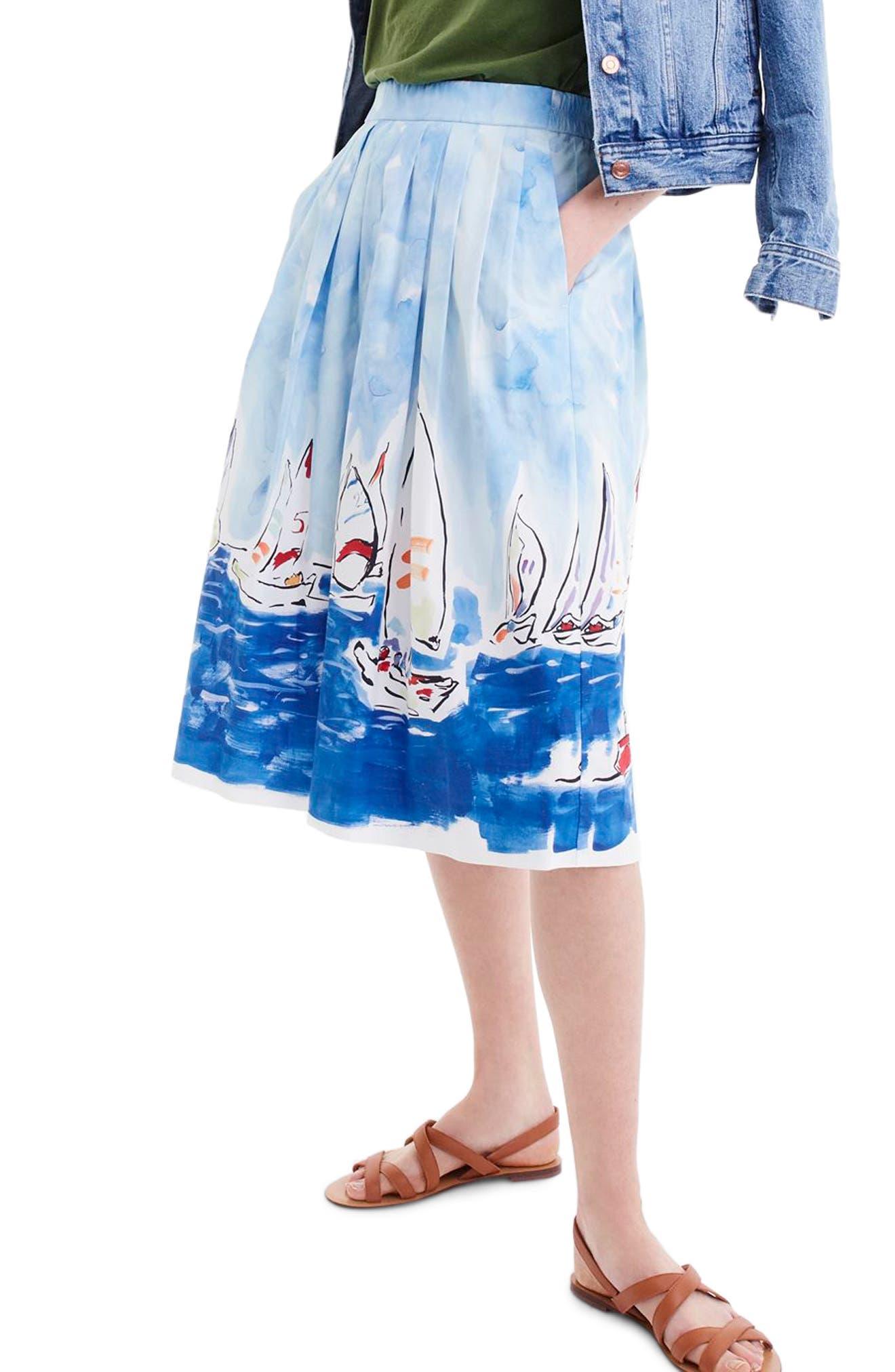 J.Crew Painted Regatta Midi Skirt (Regular & Petite)