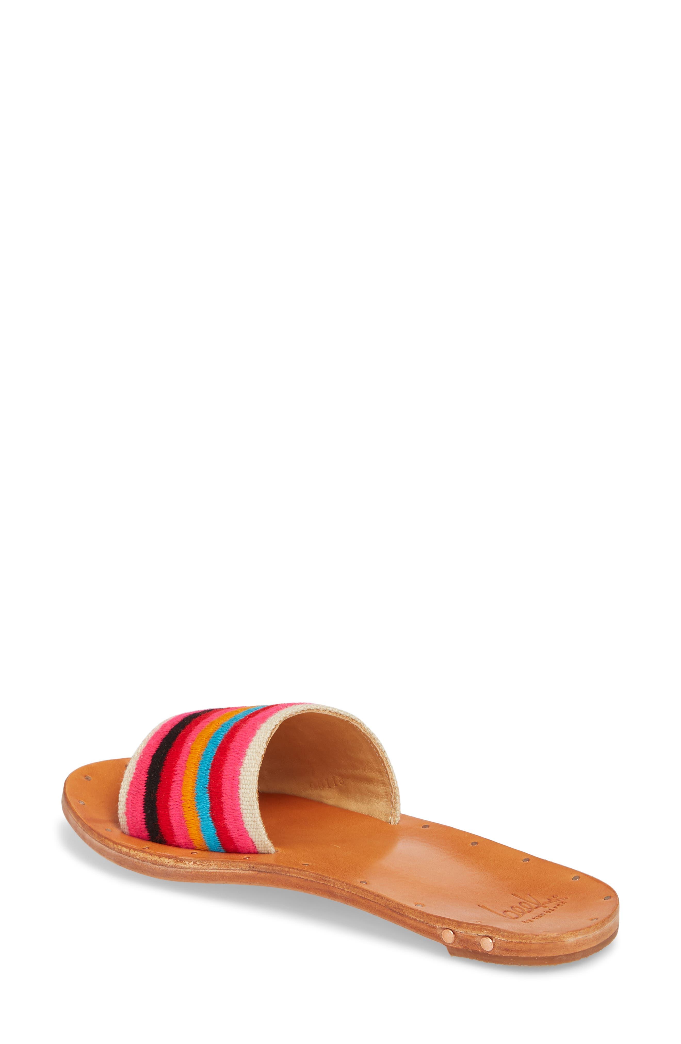 Lovebird Embroidered Slide Sandal,                             Alternate thumbnail 2, color,                             Multi/ Tan