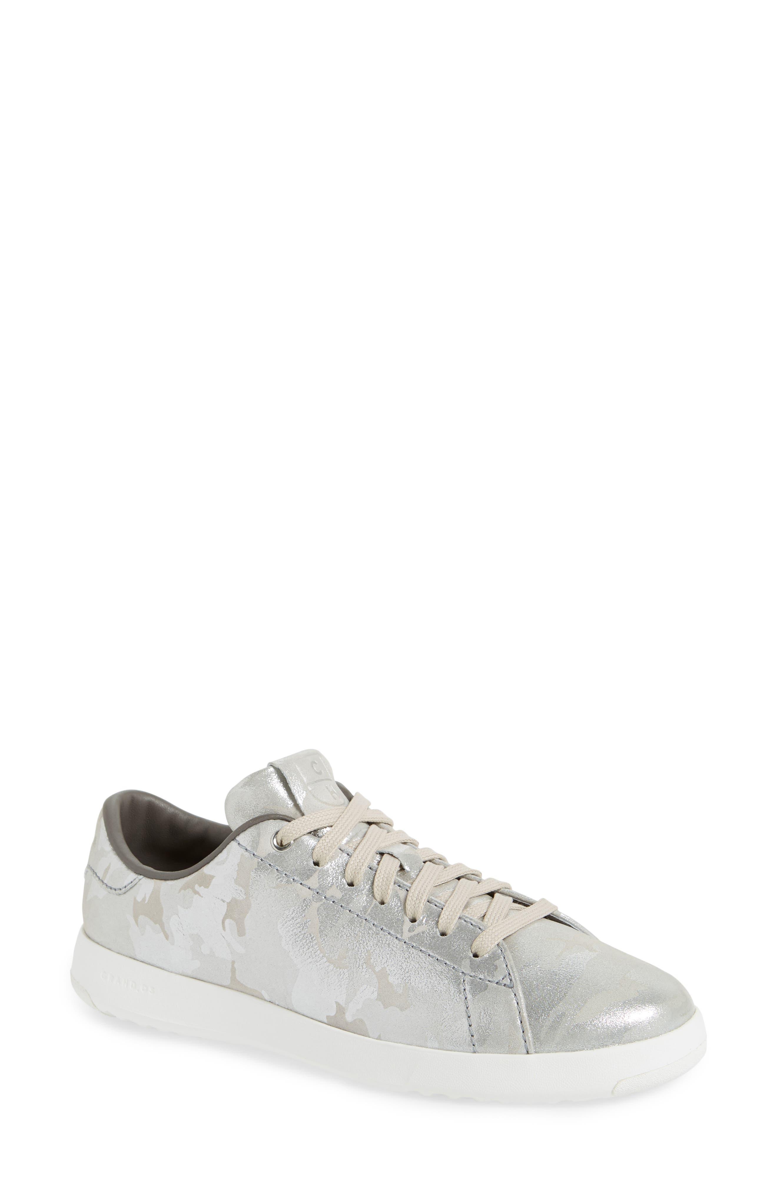 GrandPro Tennis Shoe,                             Main thumbnail 1, color,                             Dove Metallic Camo Leather