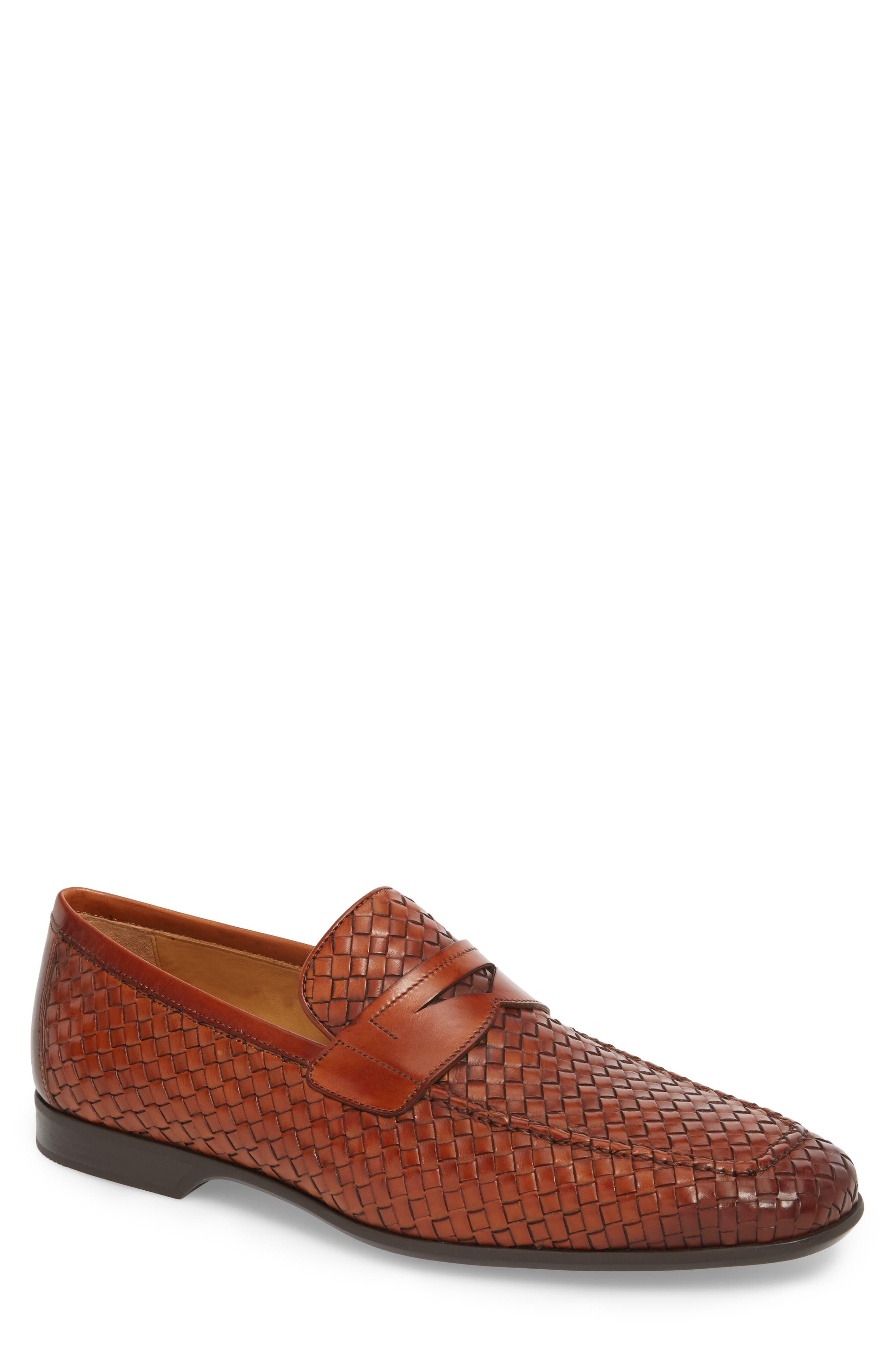 Rafa II Woven Penny Loafer,                             Main thumbnail 1, color,                             Cognac Leather