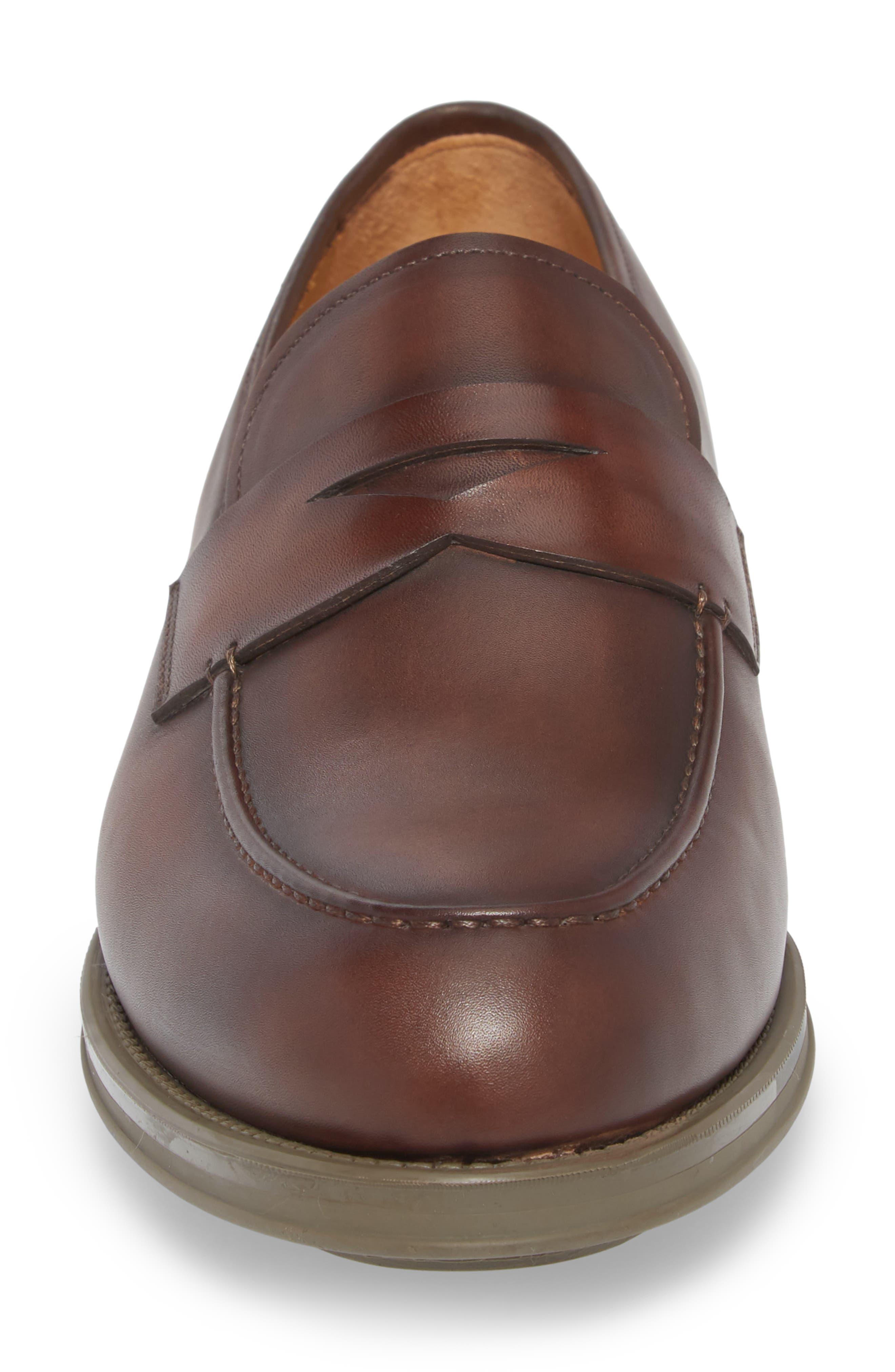 Bernardo Penny Loafer,                             Alternate thumbnail 4, color,                             Brown Leather