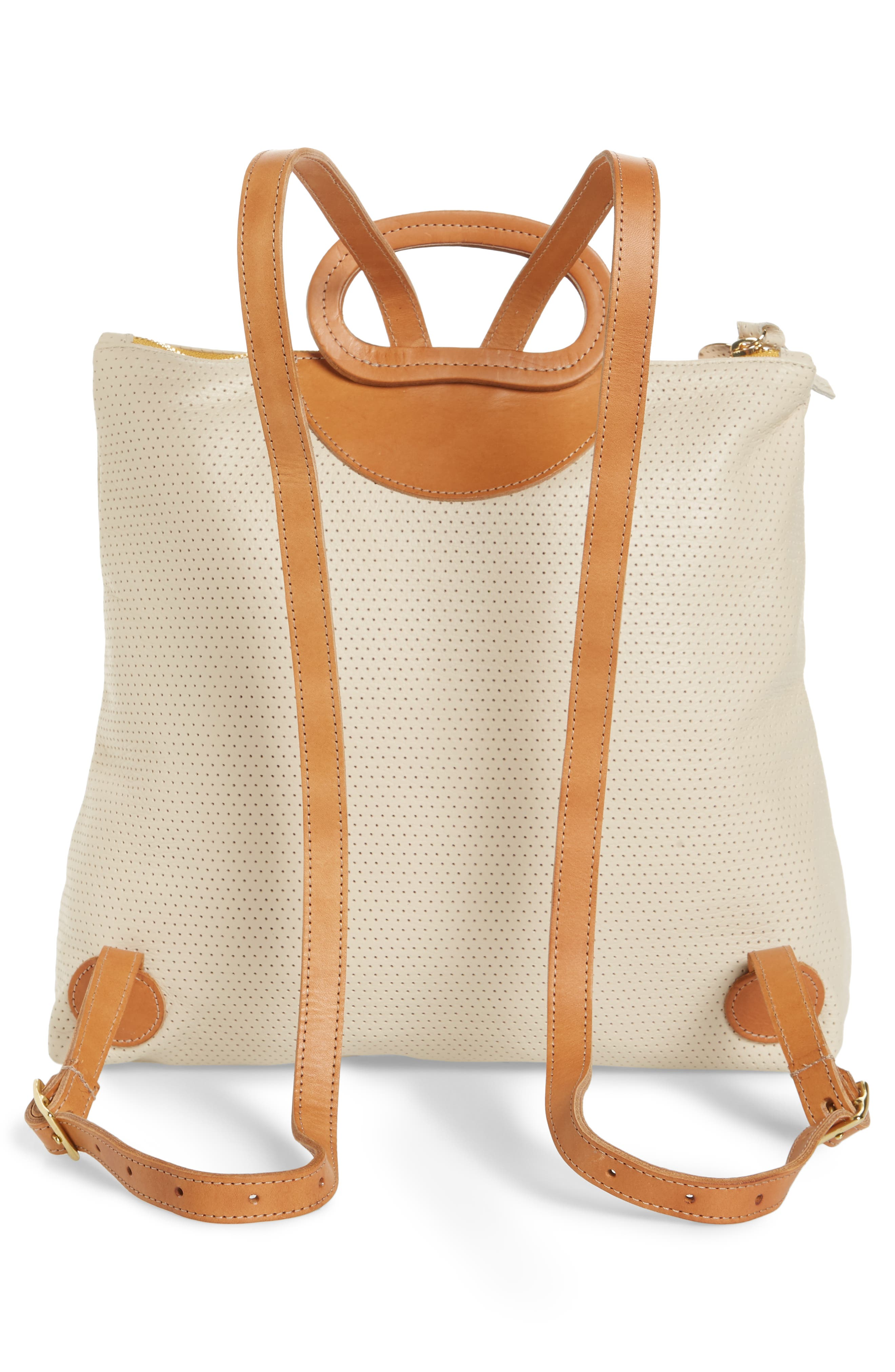 Marcelle Leather Backpack,                             Alternate thumbnail 3, color,                             Cream Micro Perf Stripe
