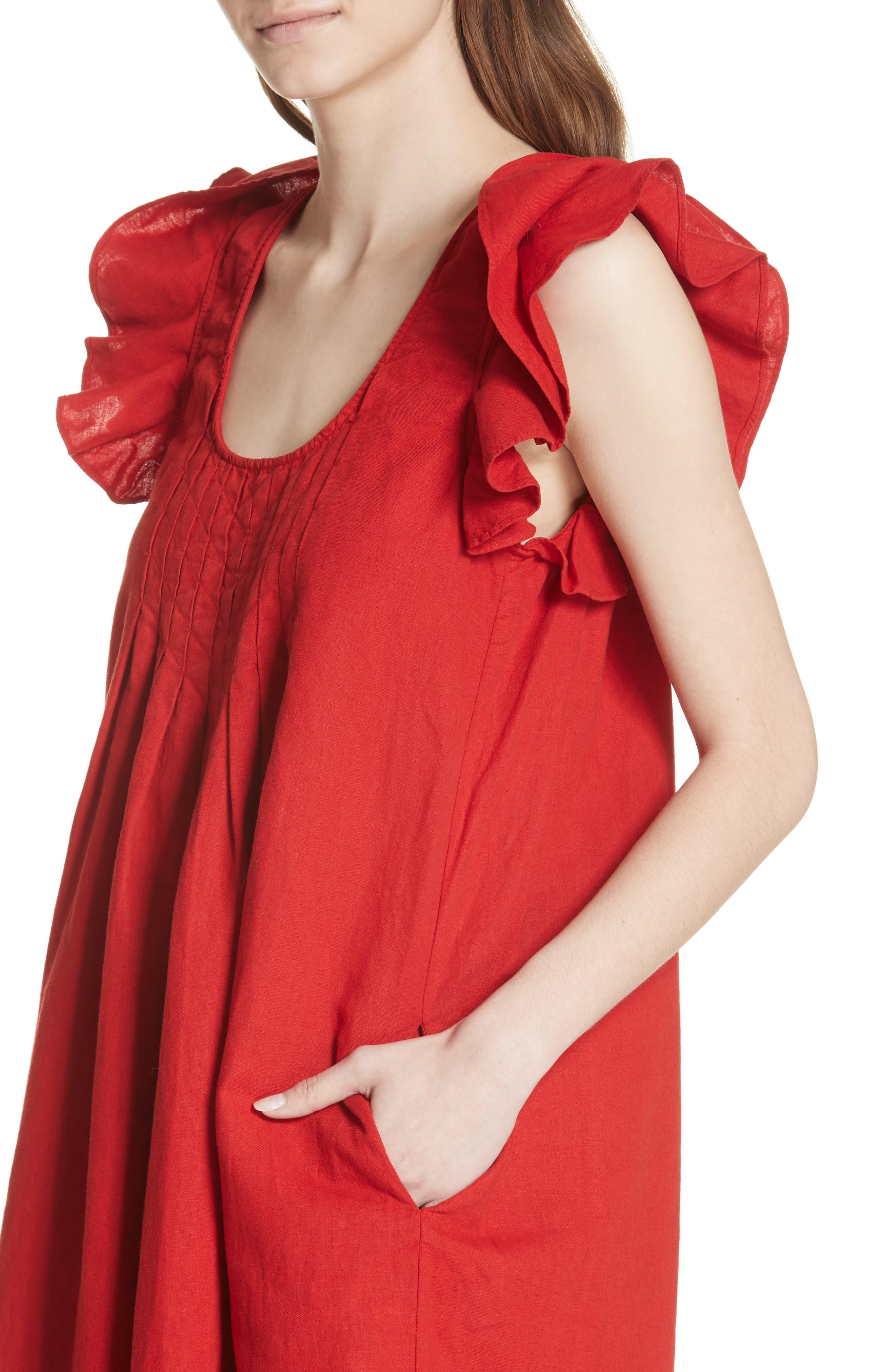 The Flutter Tulip Dress,                             Alternate thumbnail 4, color,                             Poppy