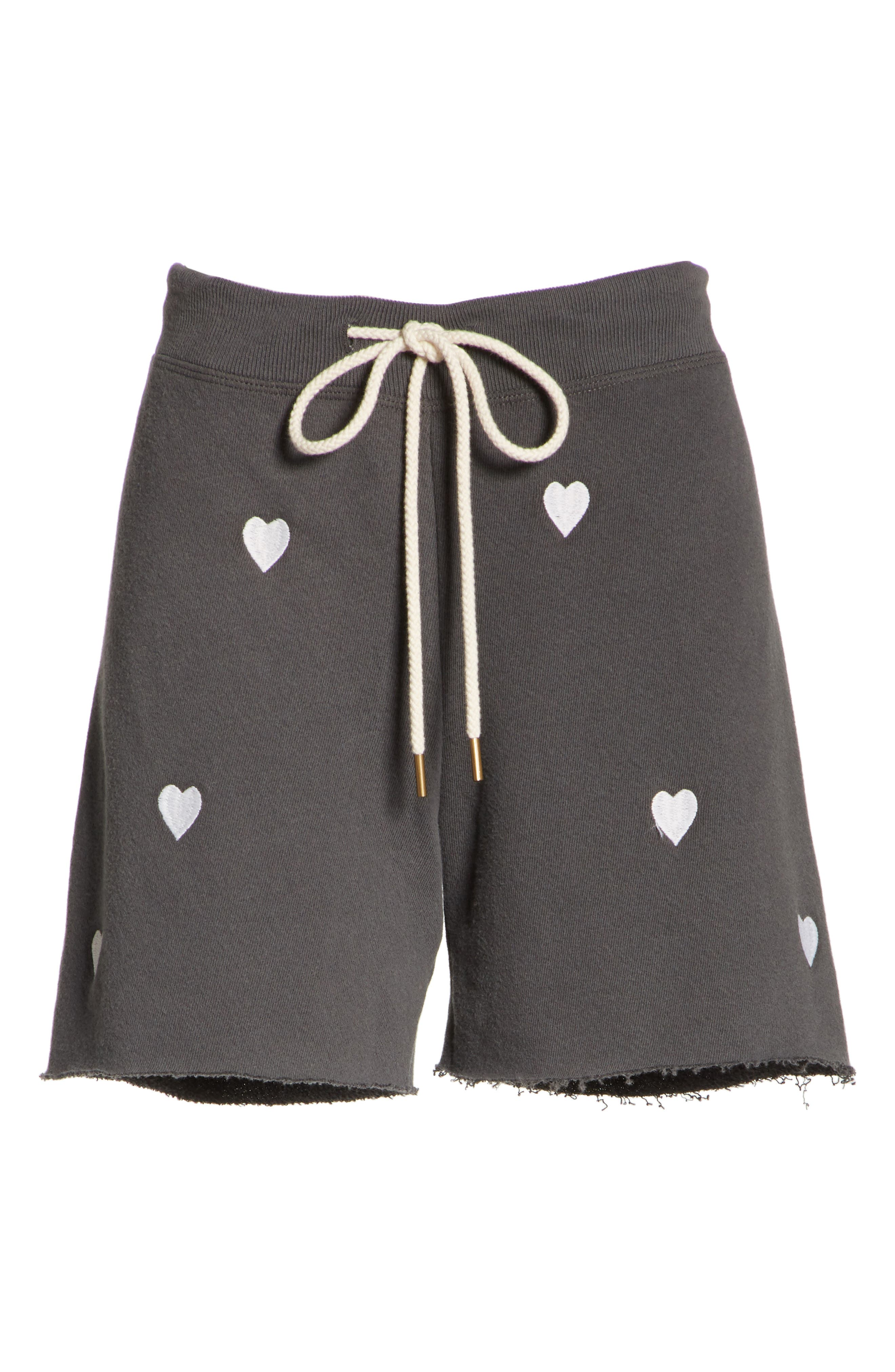 The Sweat Shorts,                             Alternate thumbnail 6, color,                             Washed Black/ White Hearts