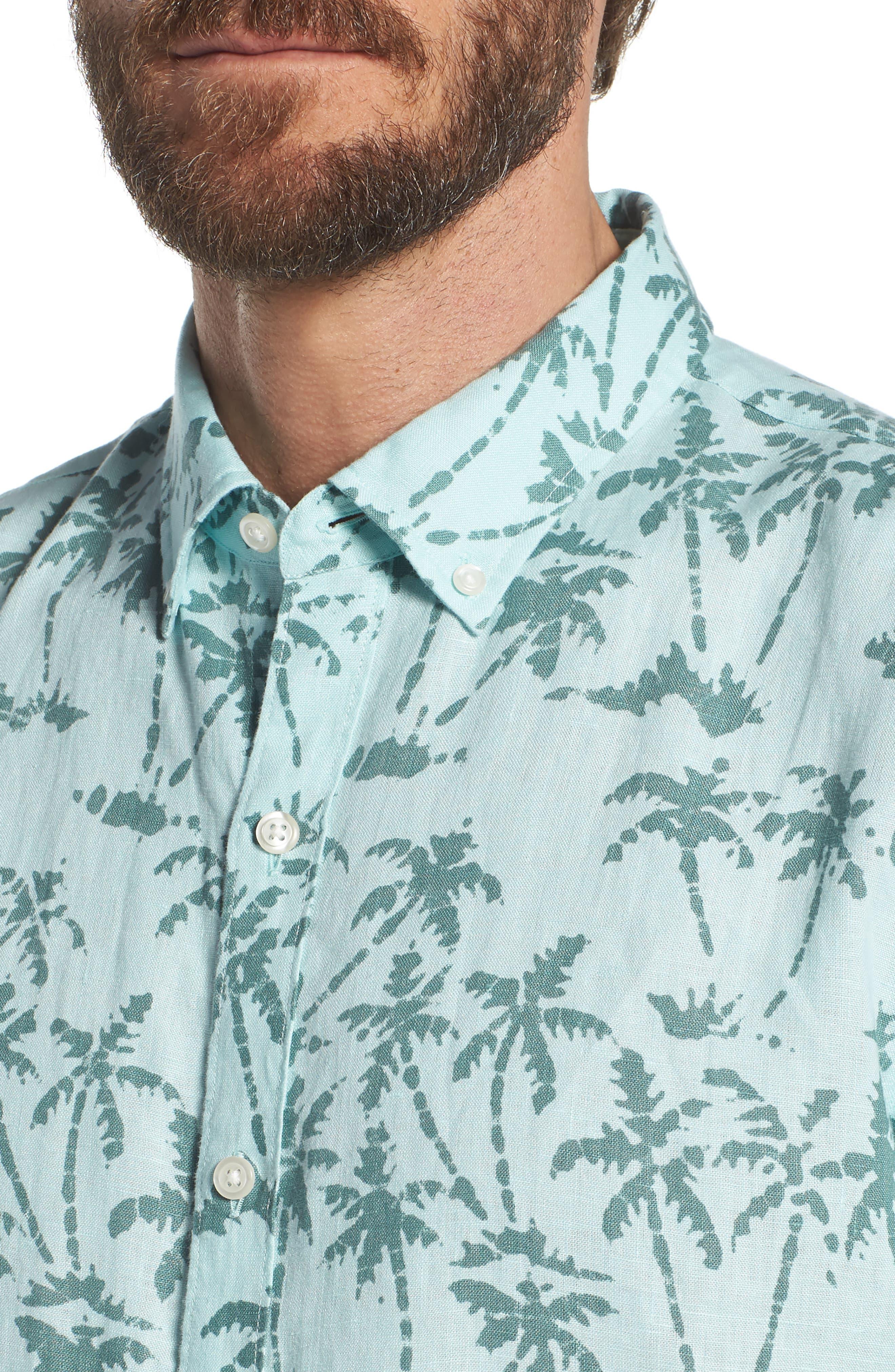 Riviera Slim Fit Palm Print Linen Sport Shirt,                             Alternate thumbnail 2, color,                             Batik Palms - Hockney Pool