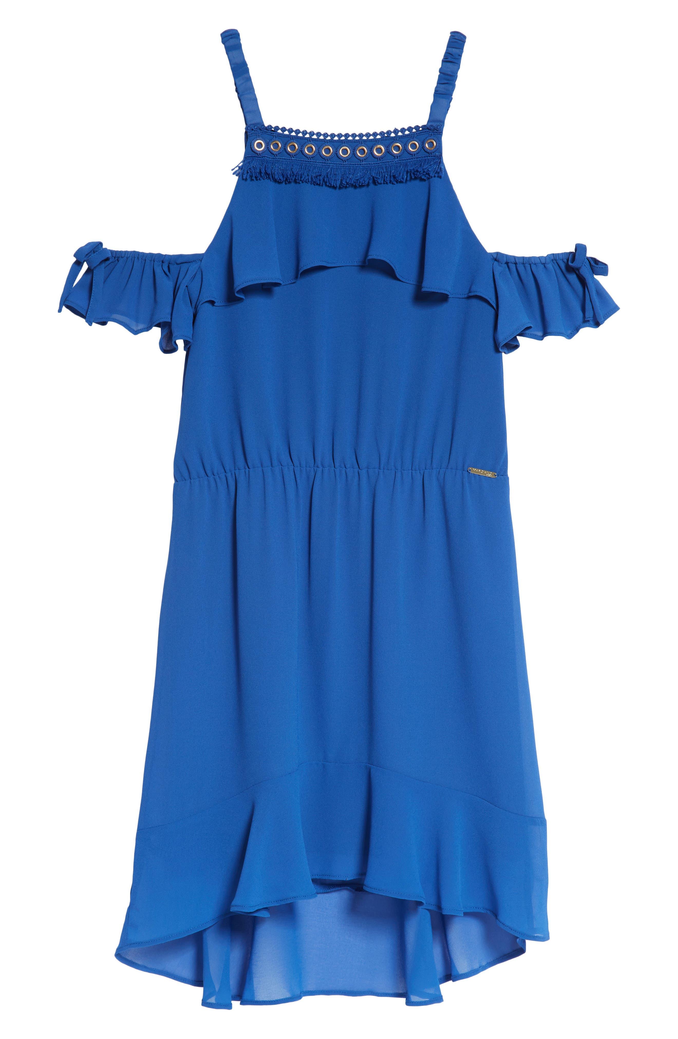 Ruffle Cold Shoulder Dress,                             Main thumbnail 1, color,                             Olimpo Blue