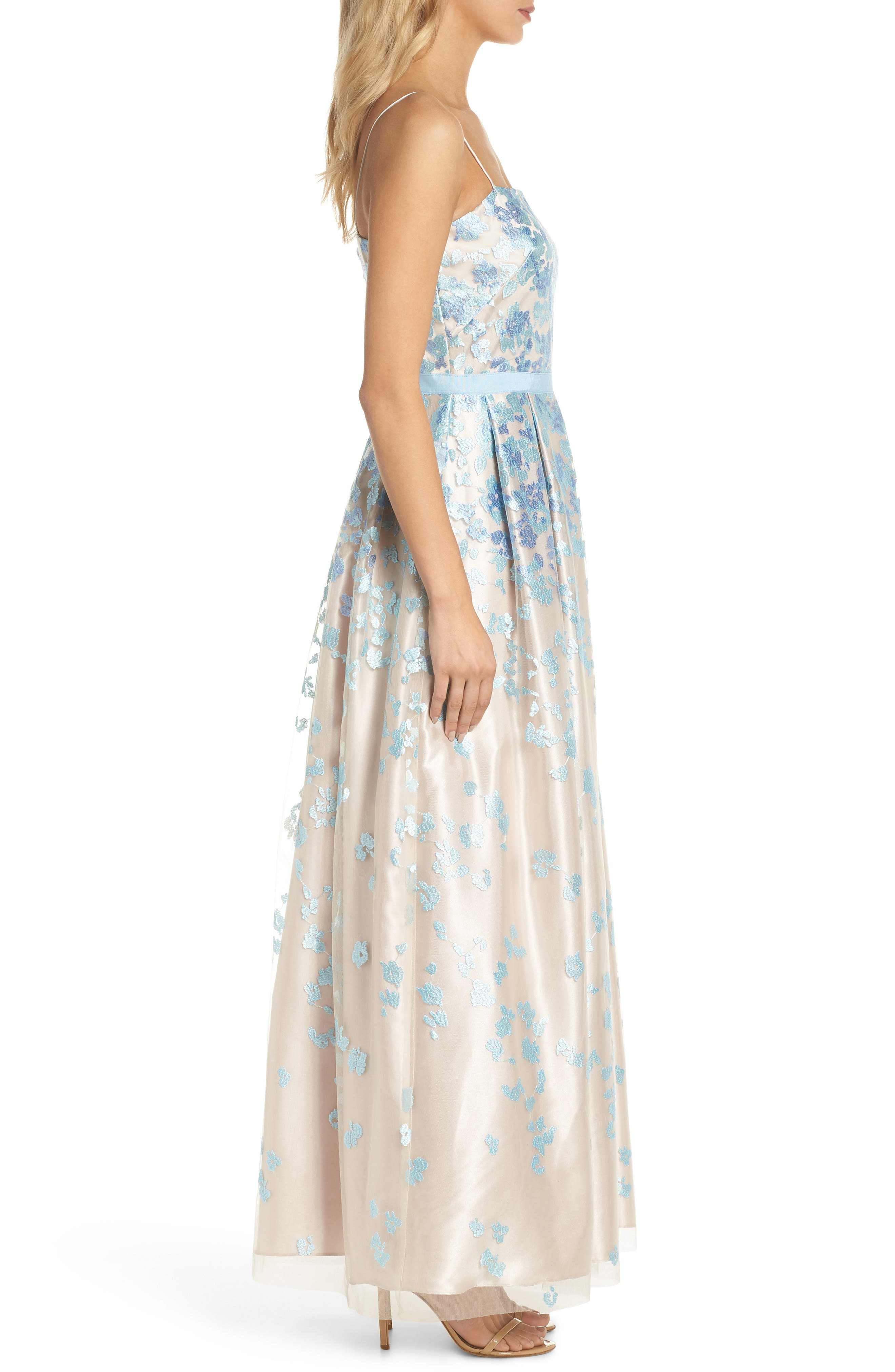 Floral Embroidered Box Pleat Ballgown,                             Alternate thumbnail 3, color,                             Aqua Beige