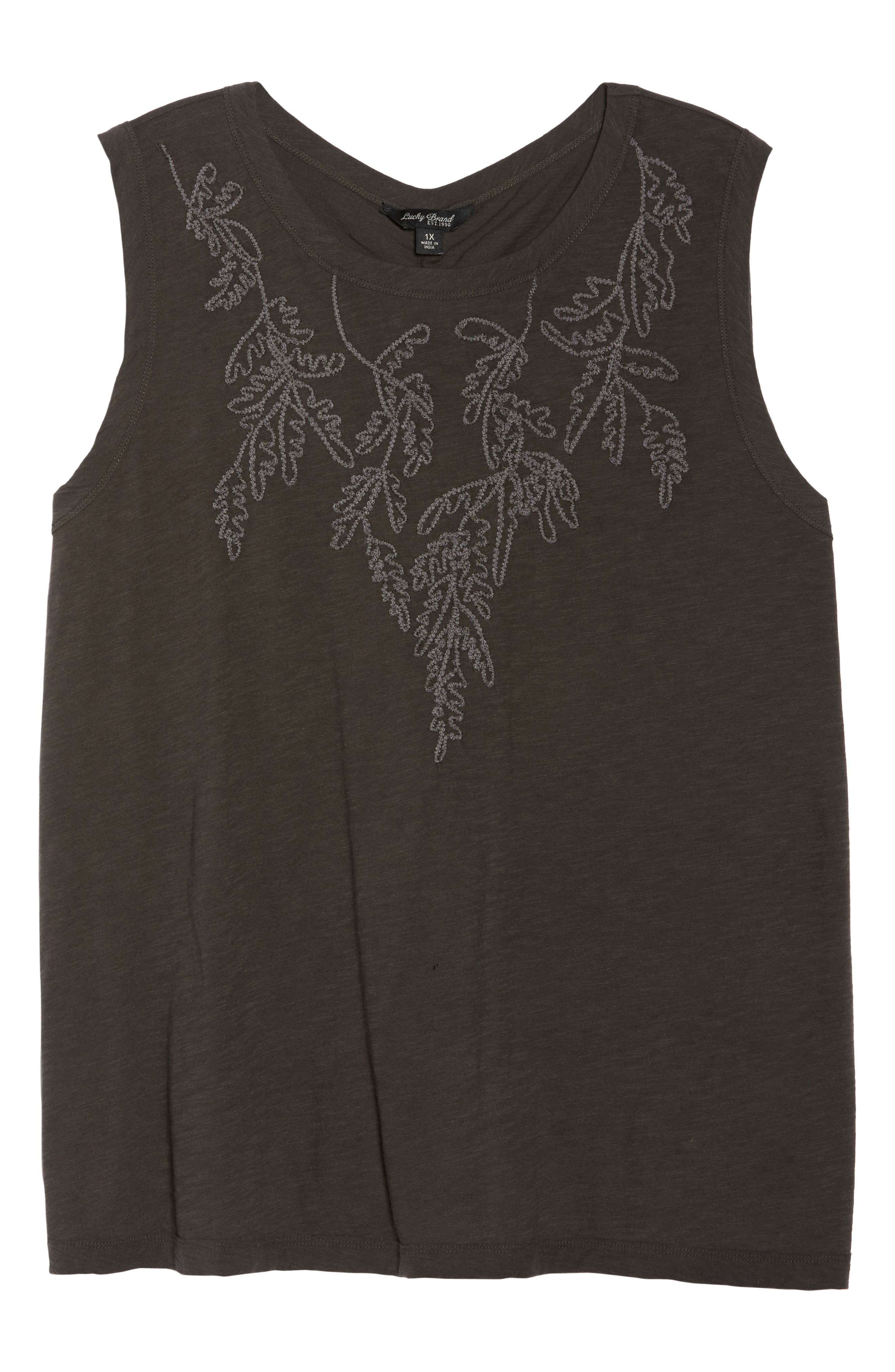 Embroidered Leaf Ruched Back Top,                             Alternate thumbnail 7, color,                             Lucky Black