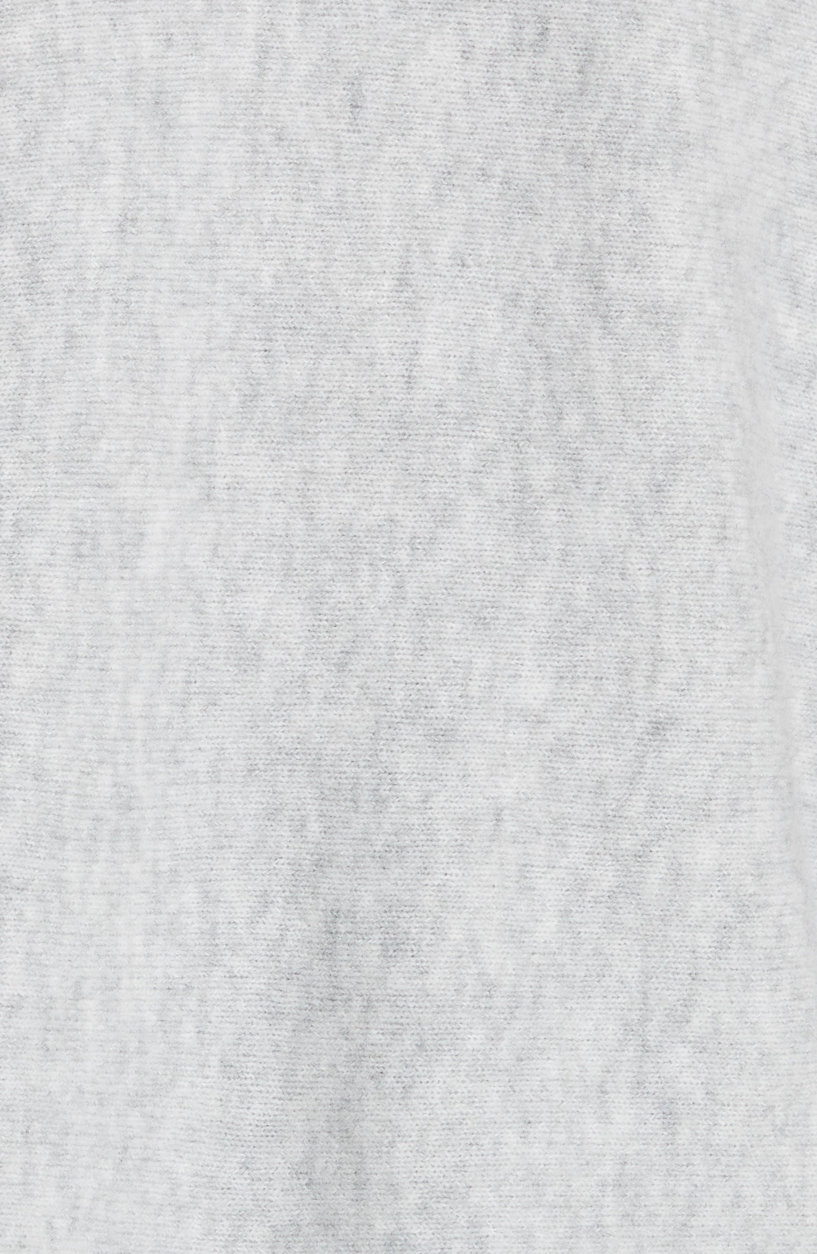 Ruffle Cuff Wool Blend Pullover,                             Alternate thumbnail 5, color,                             Grey Melange