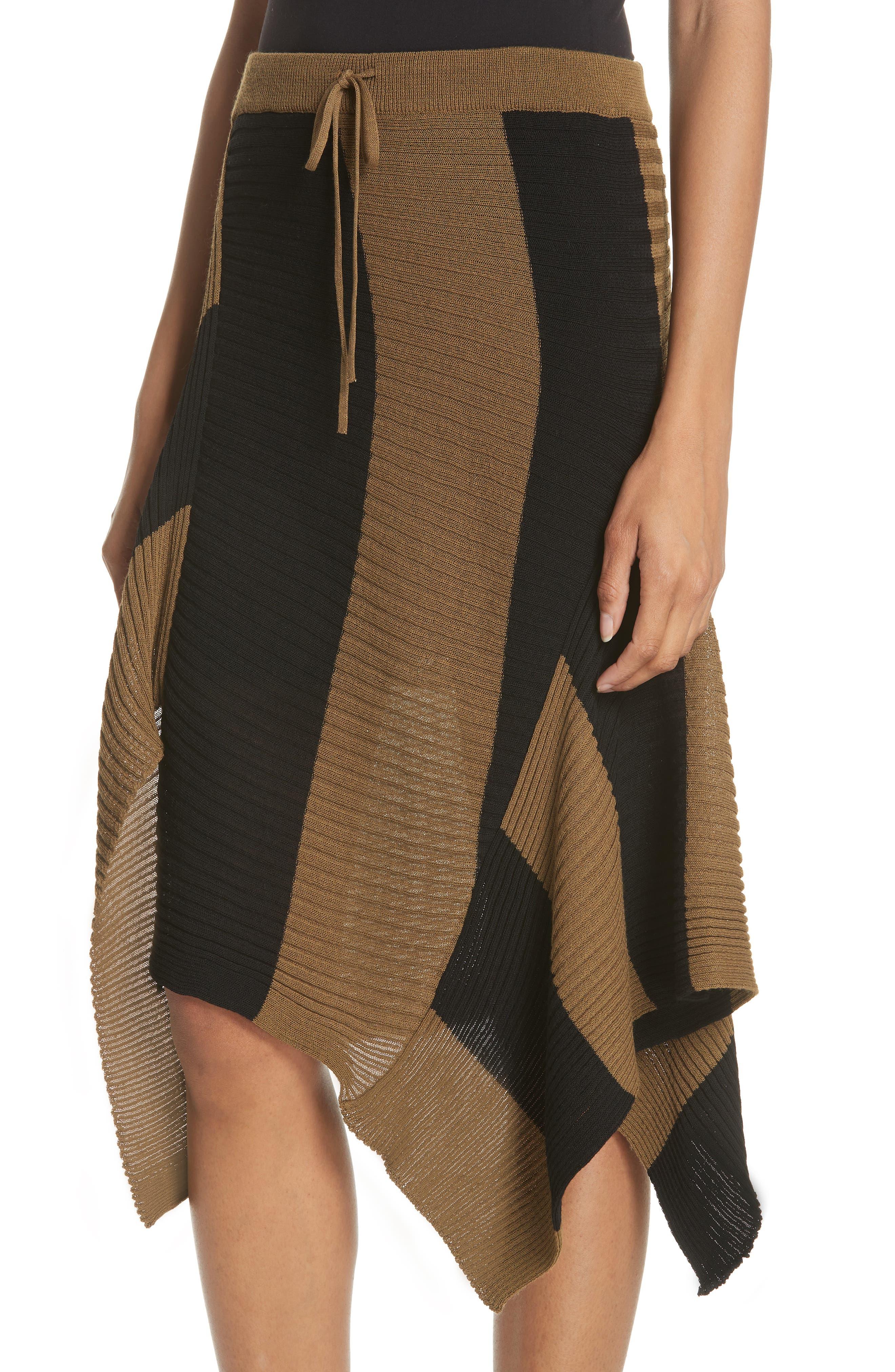 Marques'Almeida Draped Skirt,                             Alternate thumbnail 4, color,                             Khaki/ Black