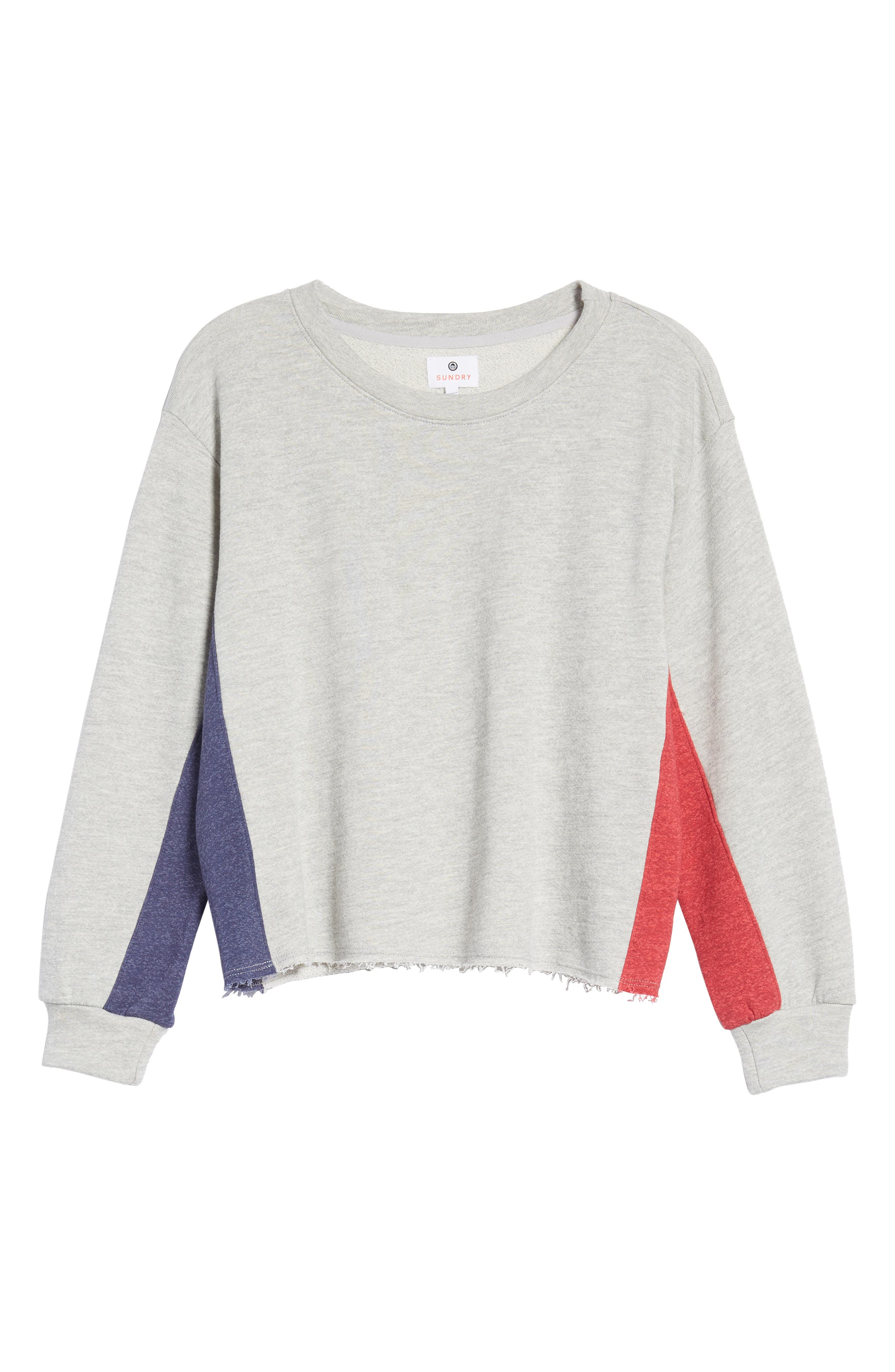 Colorblock Terry Sweatshirt,                             Alternate thumbnail 7, color,                             Heather Grey