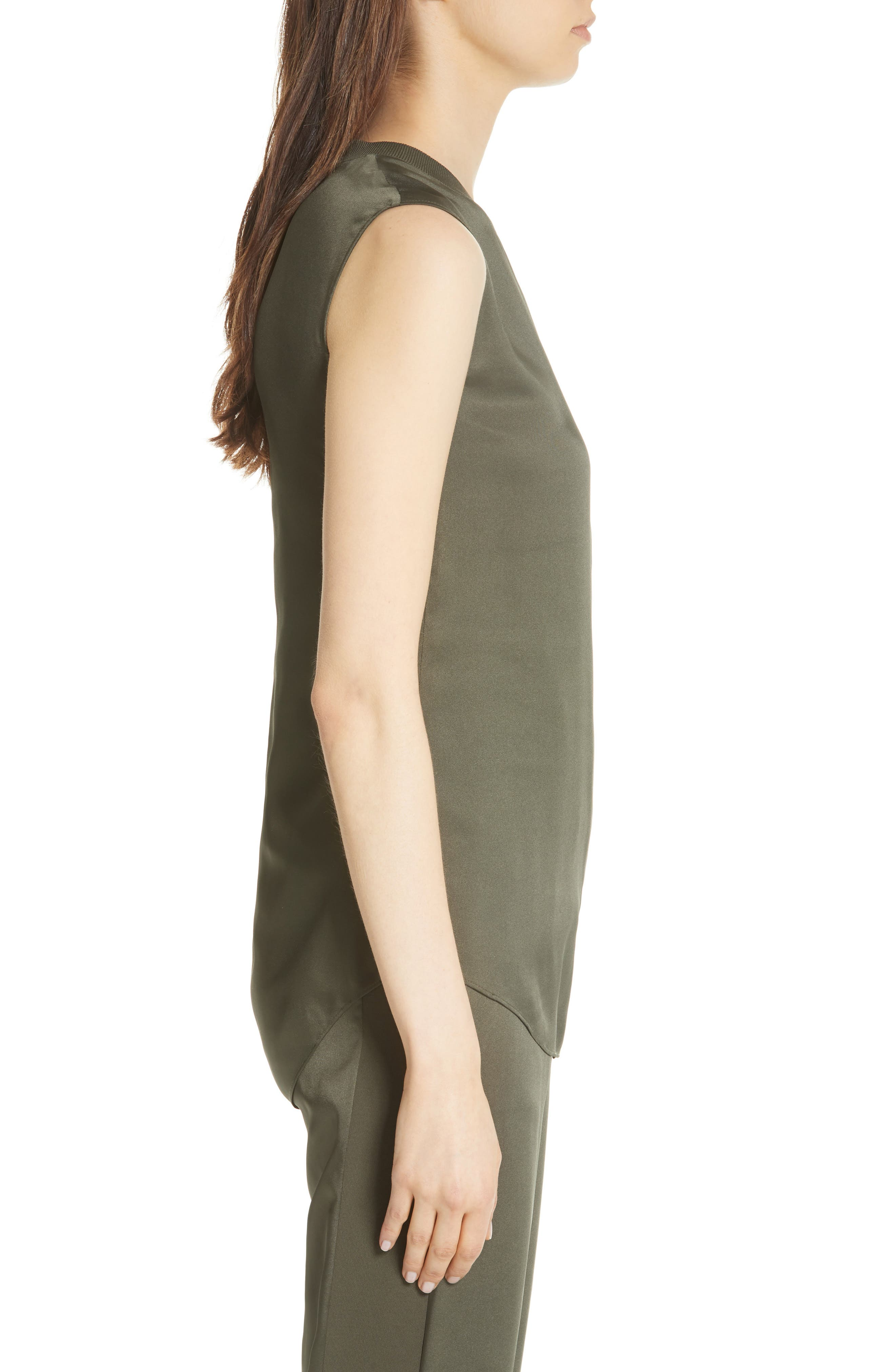 Side Ruched Top,                             Alternate thumbnail 3, color,                             Khaki