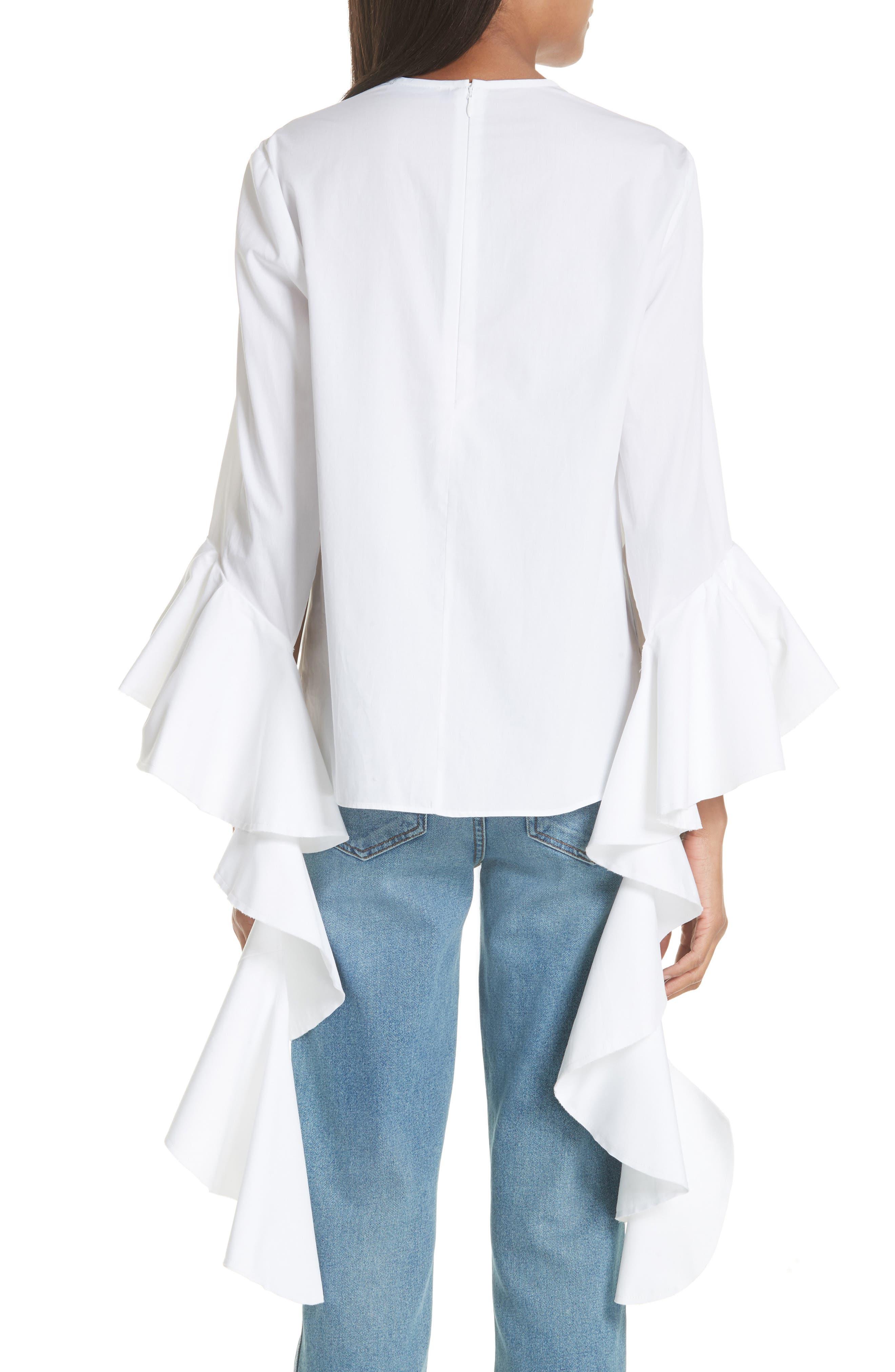 Emmeline Frill Sleeve Top,                             Alternate thumbnail 2, color,                             White