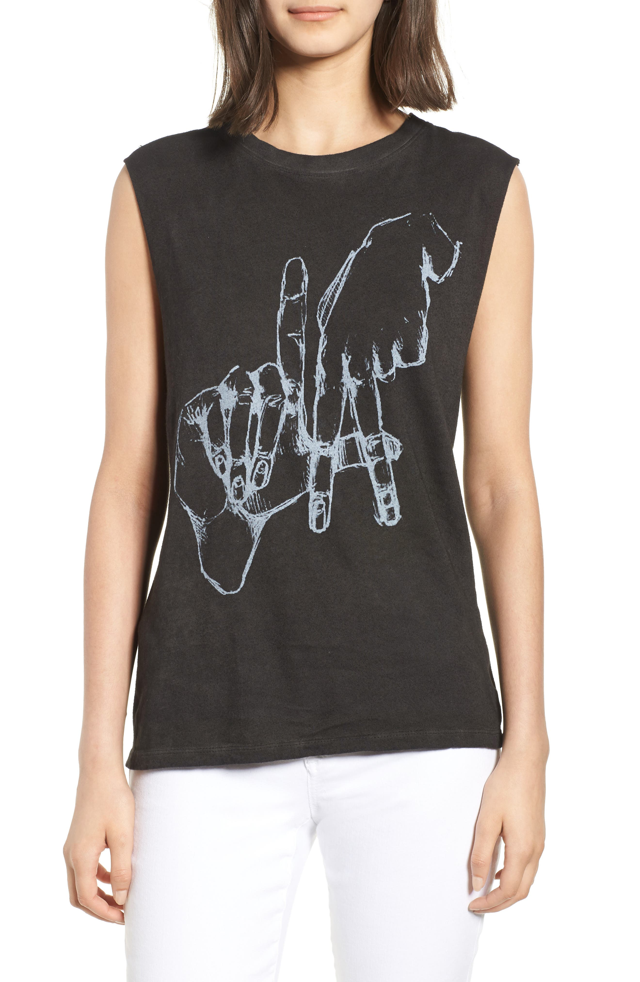 Los Angeles Graphic Muscle Tee,                         Main,                         color, Vintage Black