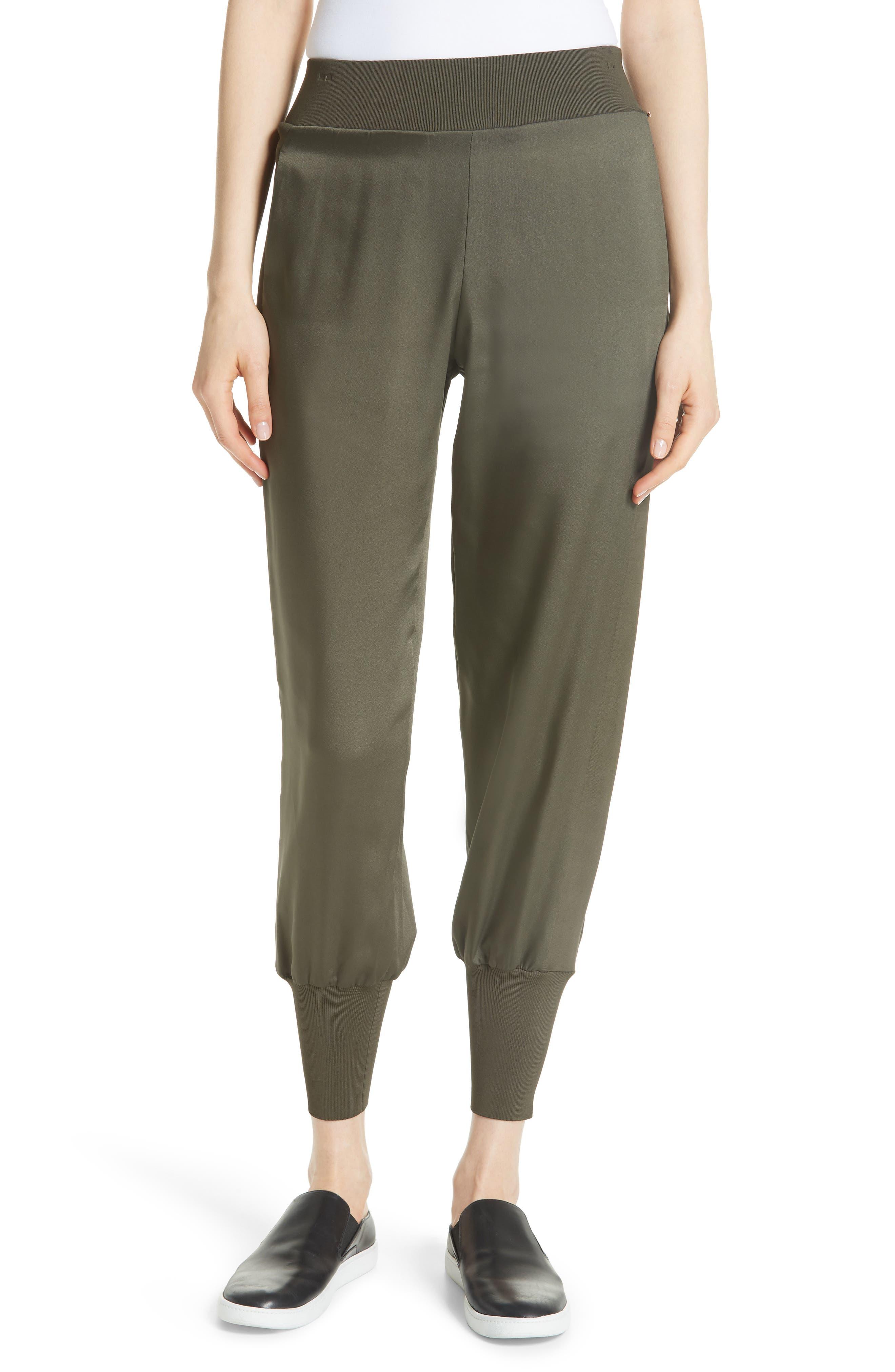 Satin Jogger Pants,                         Main,                         color, Khaki