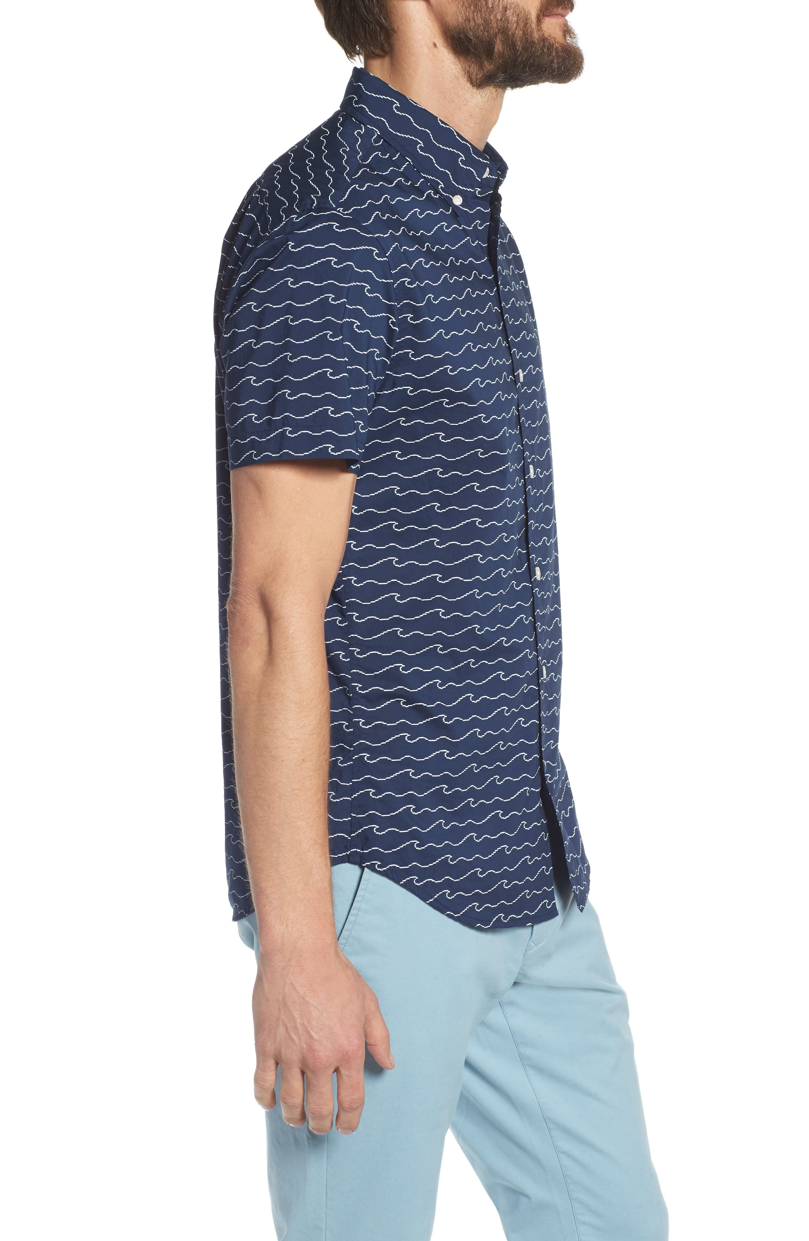 Slim Fit Print Sport Shirt,                             Alternate thumbnail 4, color,                             Digital Wave - Deep Pacific