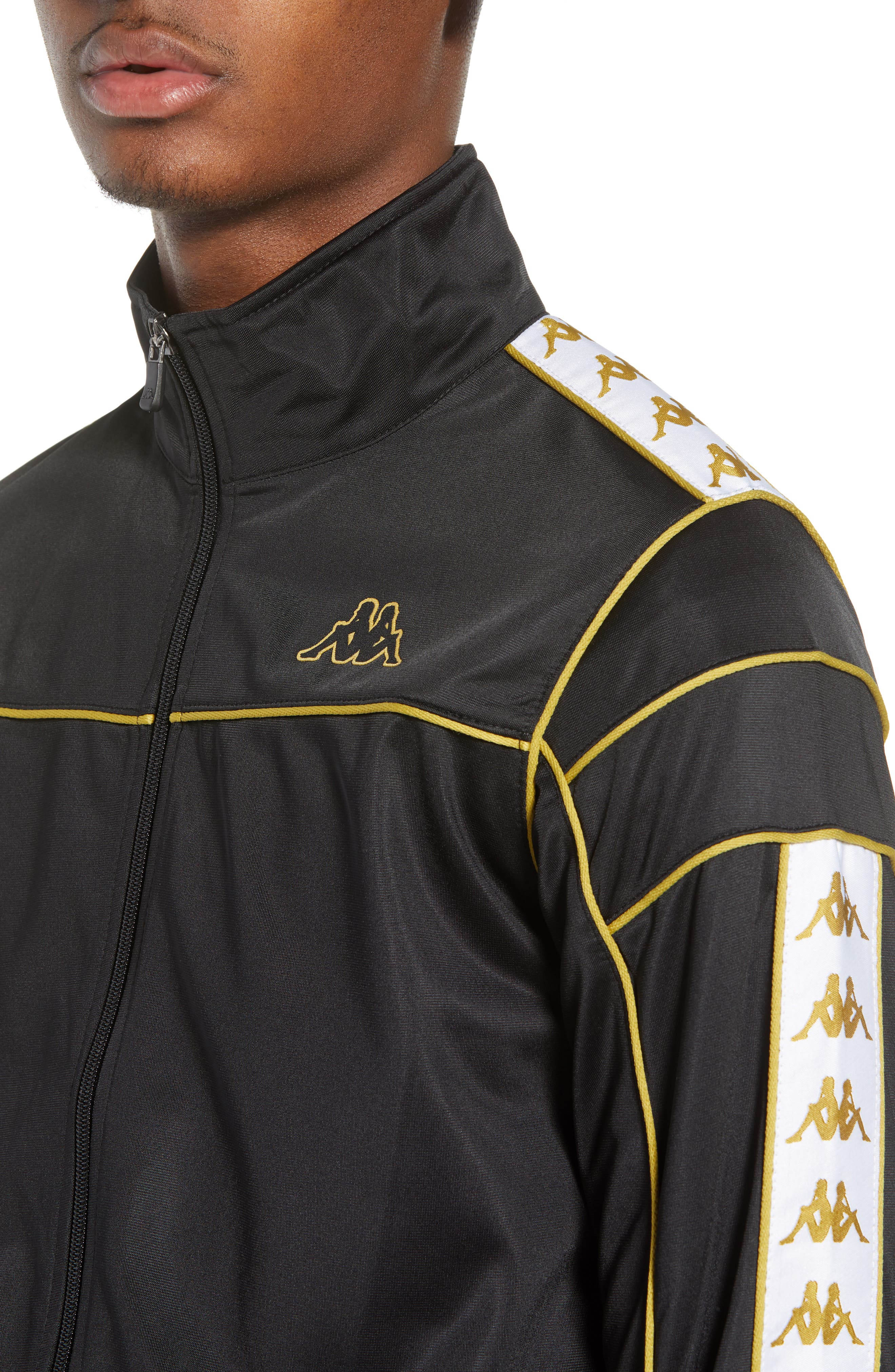 Racing Track Jacket,                             Alternate thumbnail 4, color,                             Black/ White Gold