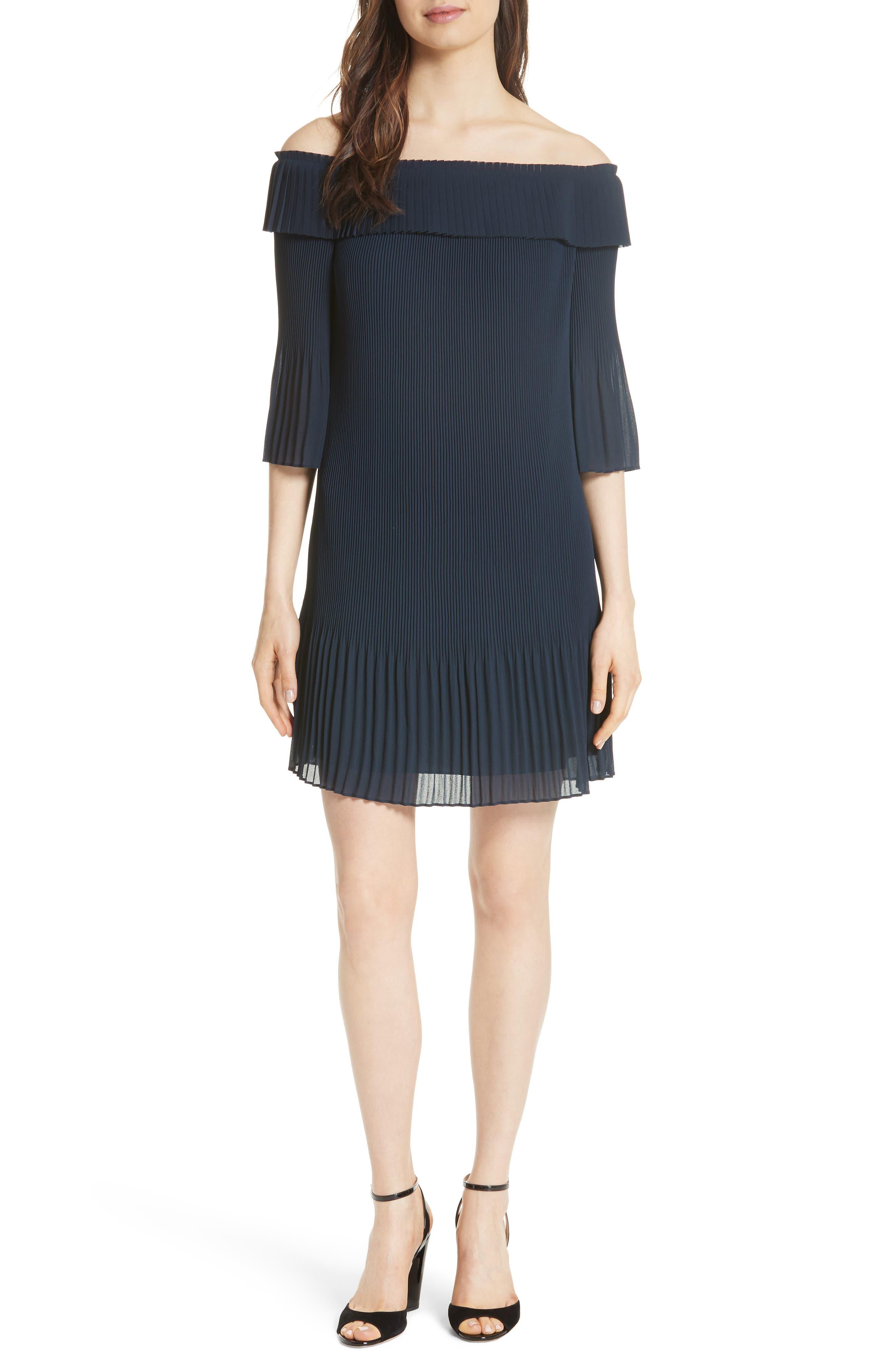 Bardot Pleated Off the Shoulder Chiffon Minidress,                         Main,                         color, Navy