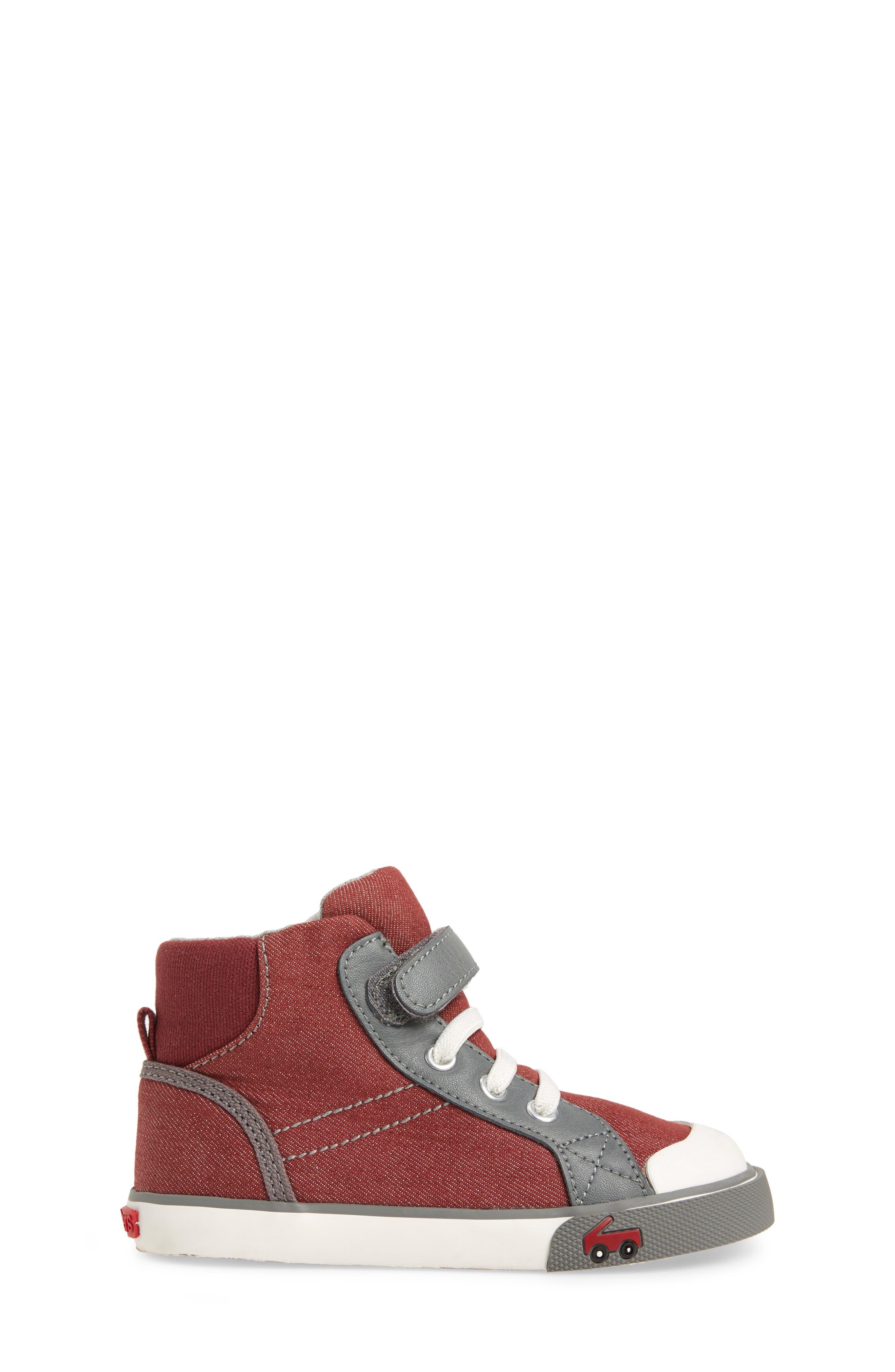 'Dane' Sneaker,                             Alternate thumbnail 3, color,                             Burgundy Denim