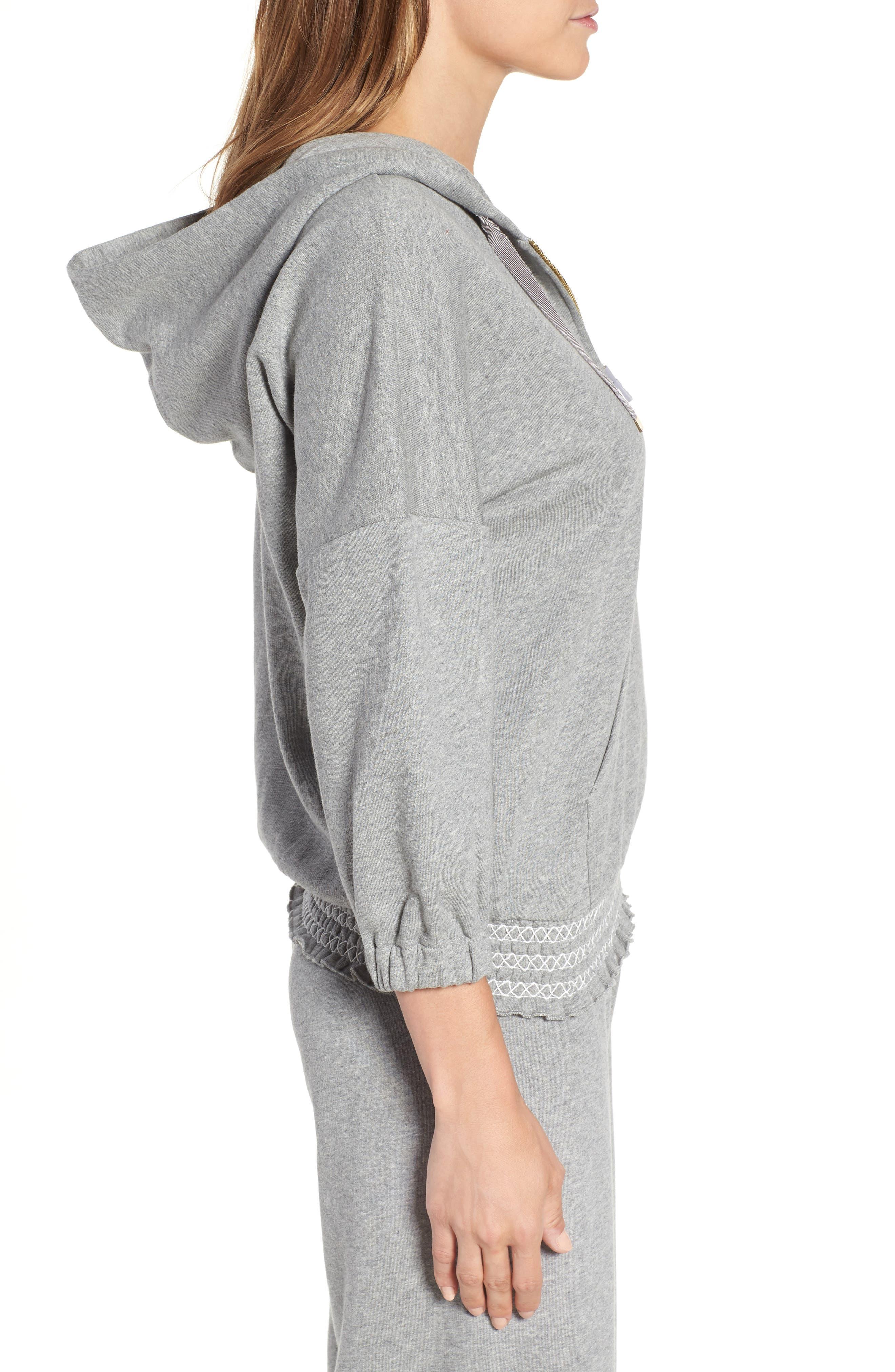 smocked hoodie sweatshirt,                             Alternate thumbnail 3, color,                             Flint Heather