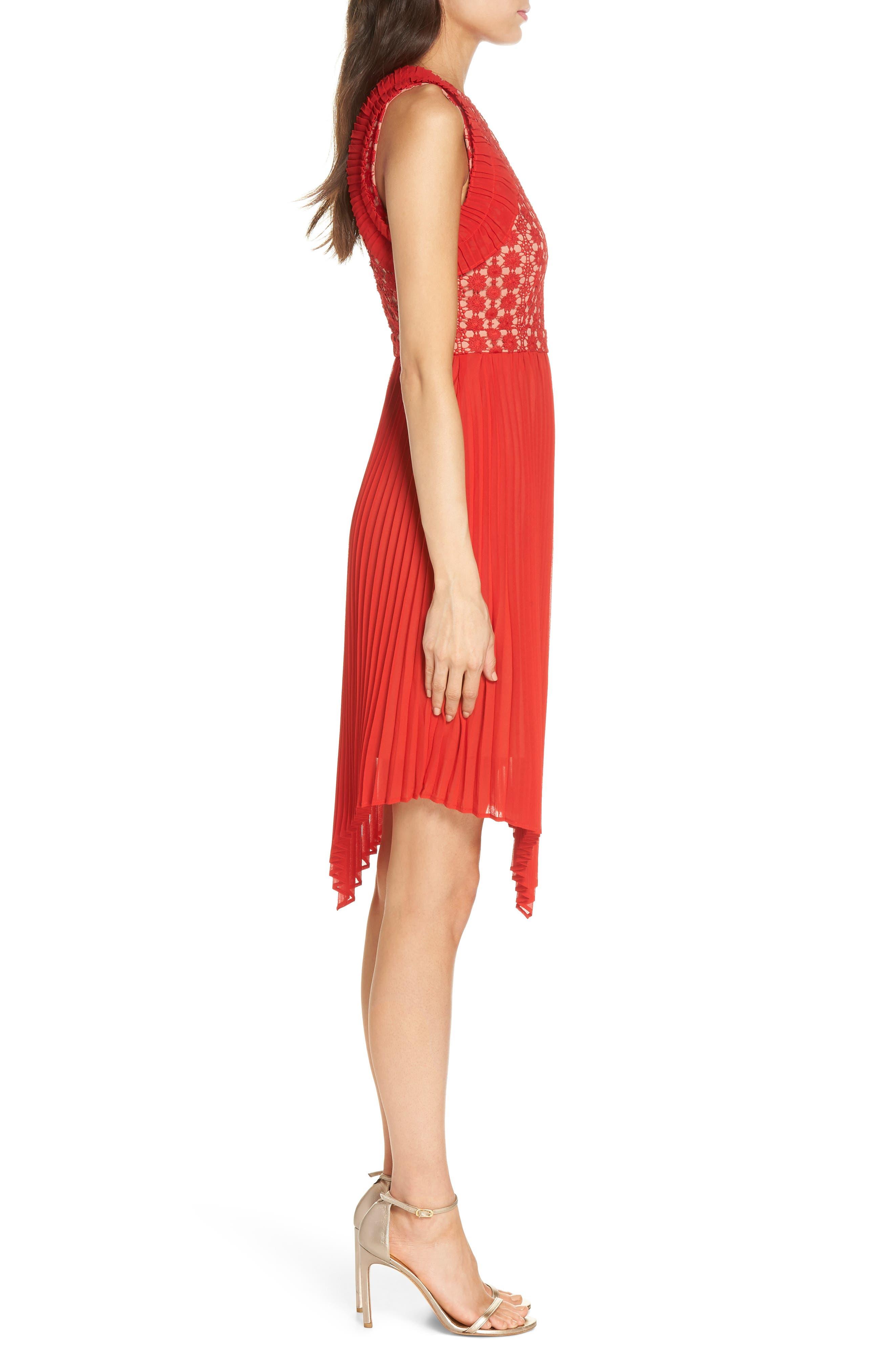 Nealea Pleated Sheath Dress,                             Alternate thumbnail 4, color,                             Red