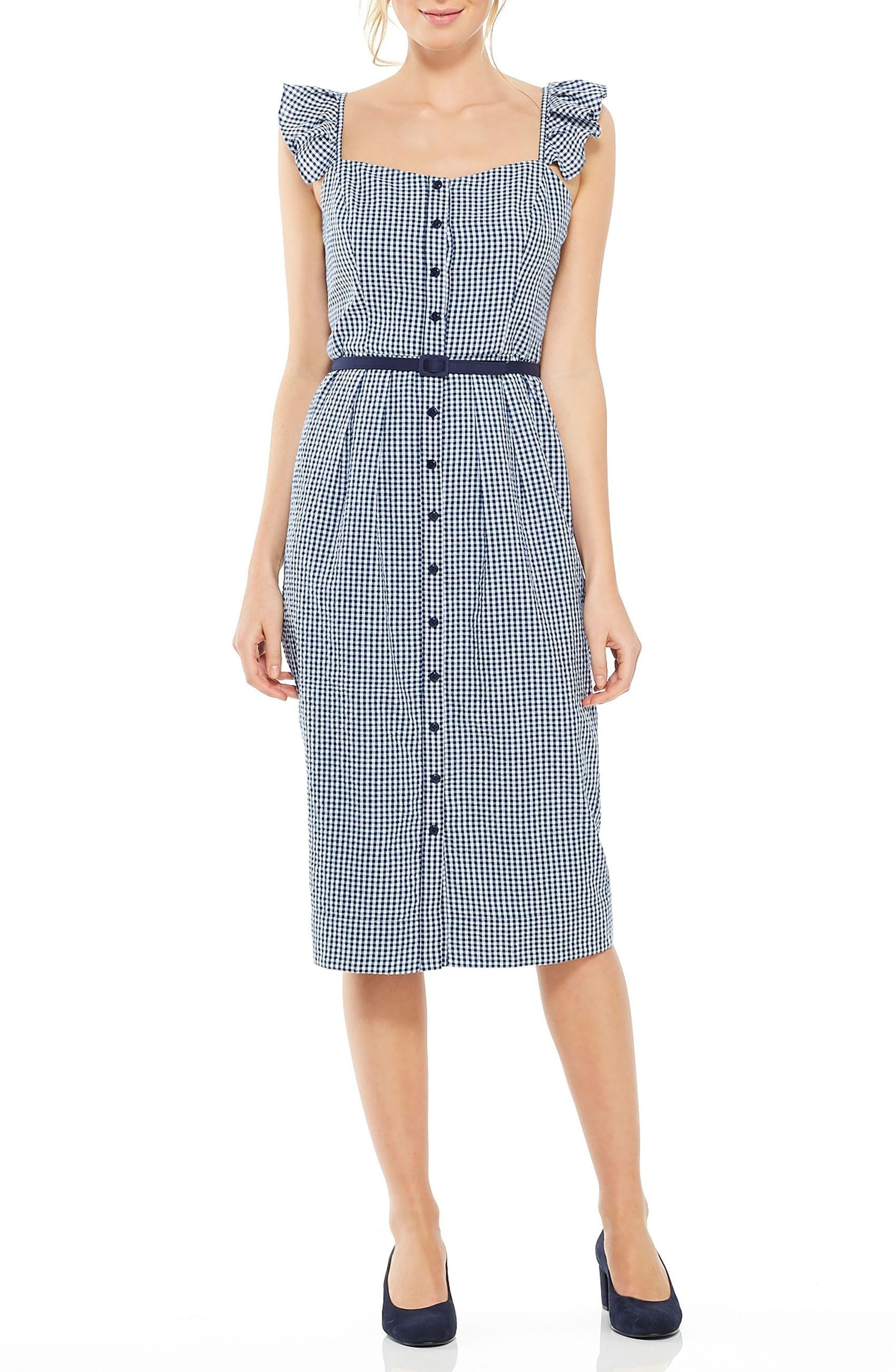 Carly Gingham Sheath Dress,                         Main,                         color, Blue/ White