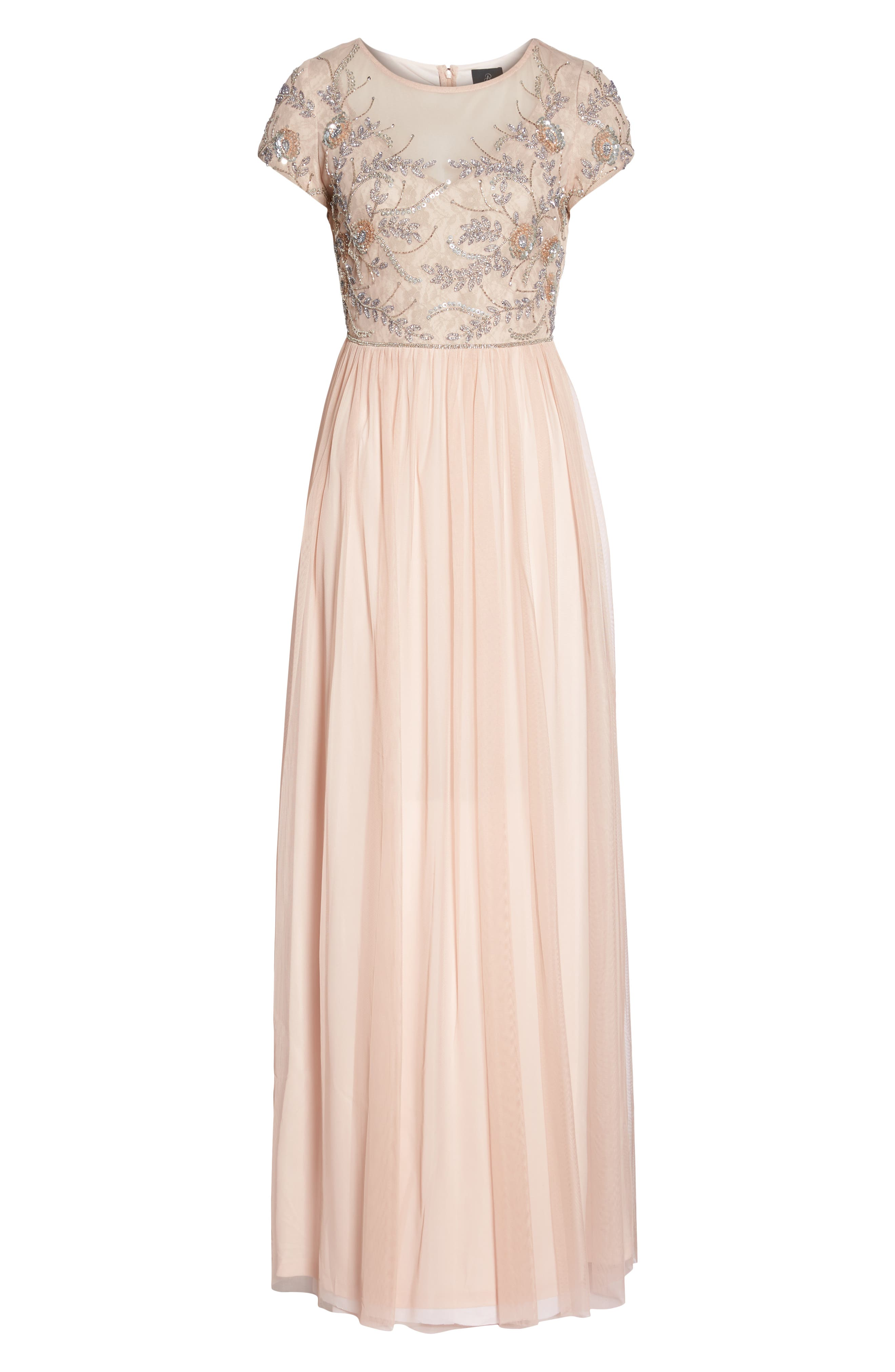 Beaded Mesh Gown,                             Alternate thumbnail 6, color,                             Blush