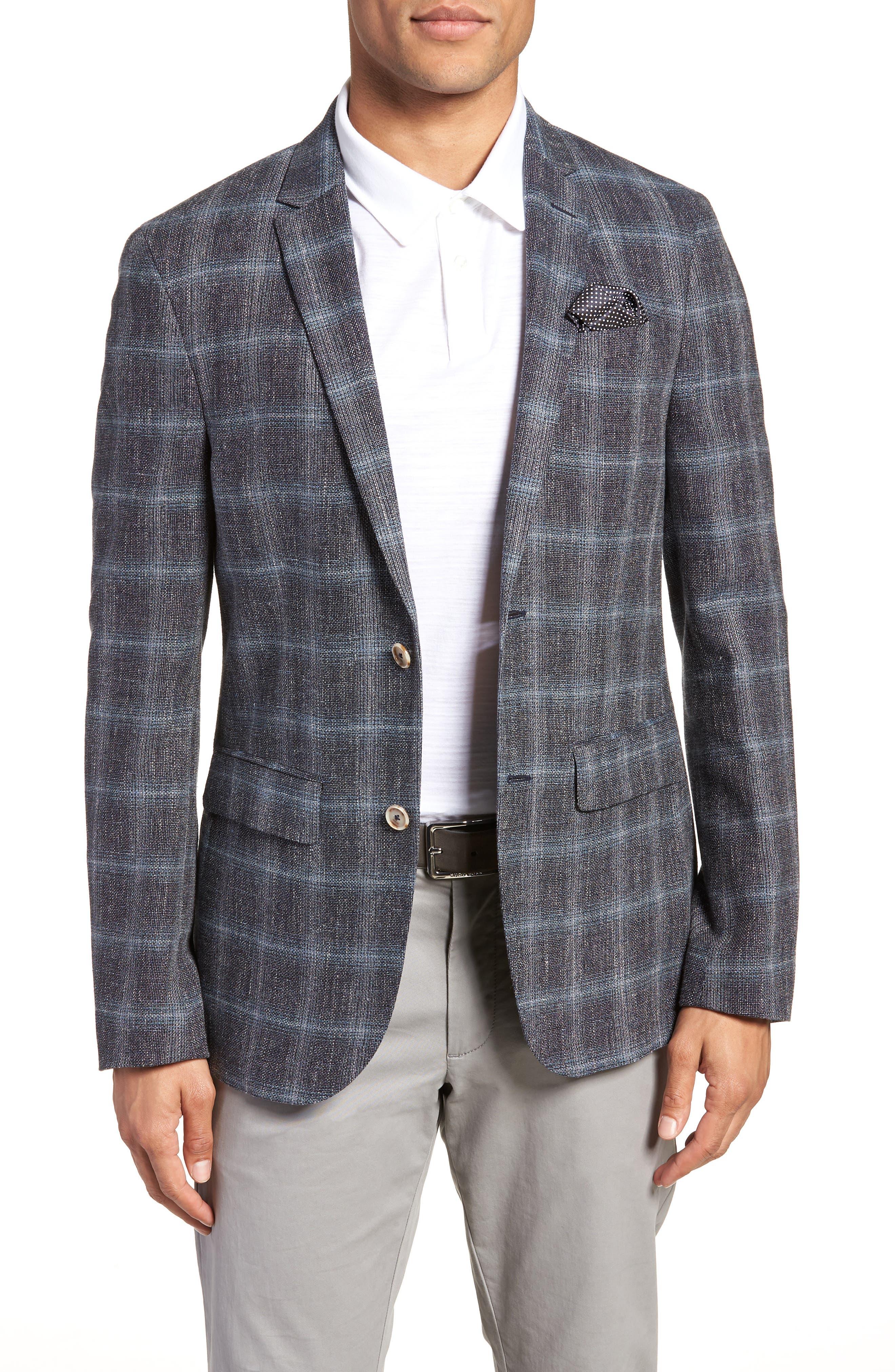 Trim Fit Plaid Sport Coat,                         Main,                         color, Grey
