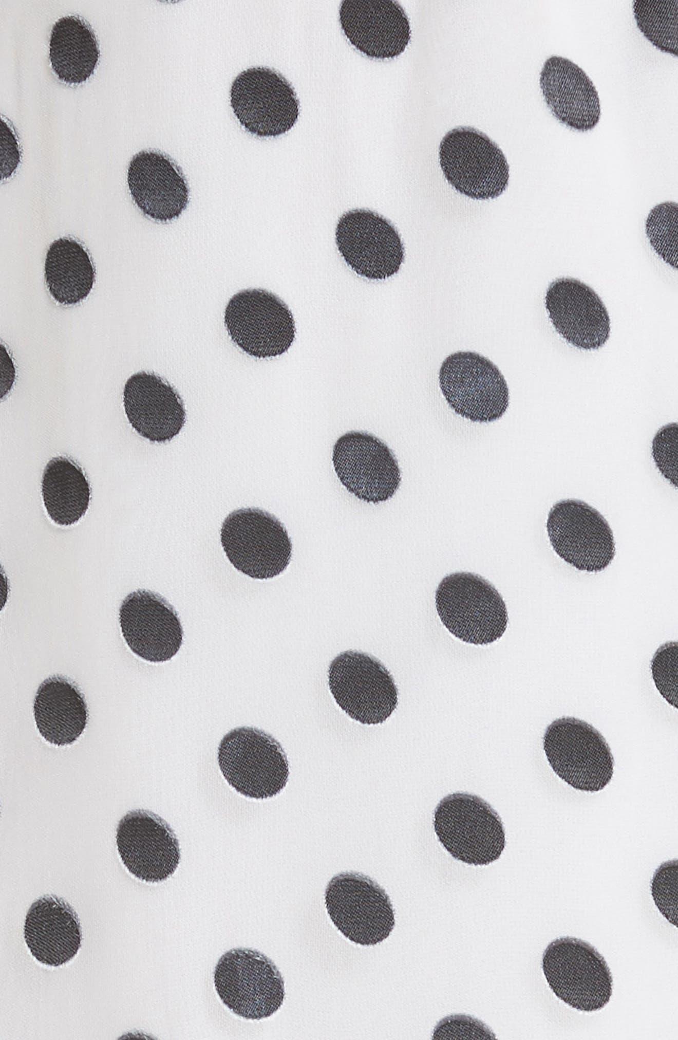 Ruffle Faux Wrap Dress,                             Alternate thumbnail 5, color,                             Soft White Mono Dot