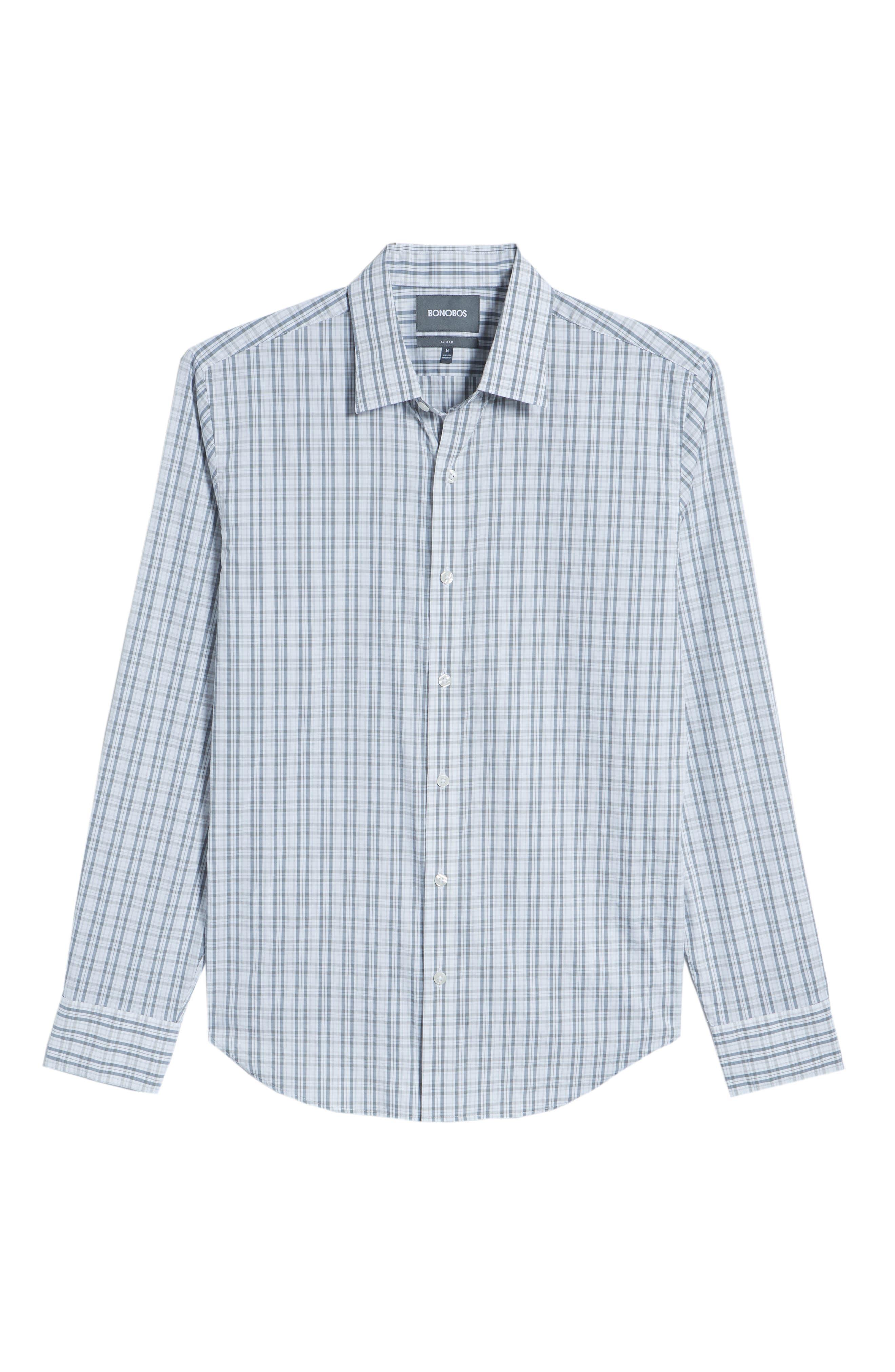 Unbutton Down Slim Fit Plaid Sport Shirt,                             Alternate thumbnail 6, color,                             Round Hill Plaid - Sterling