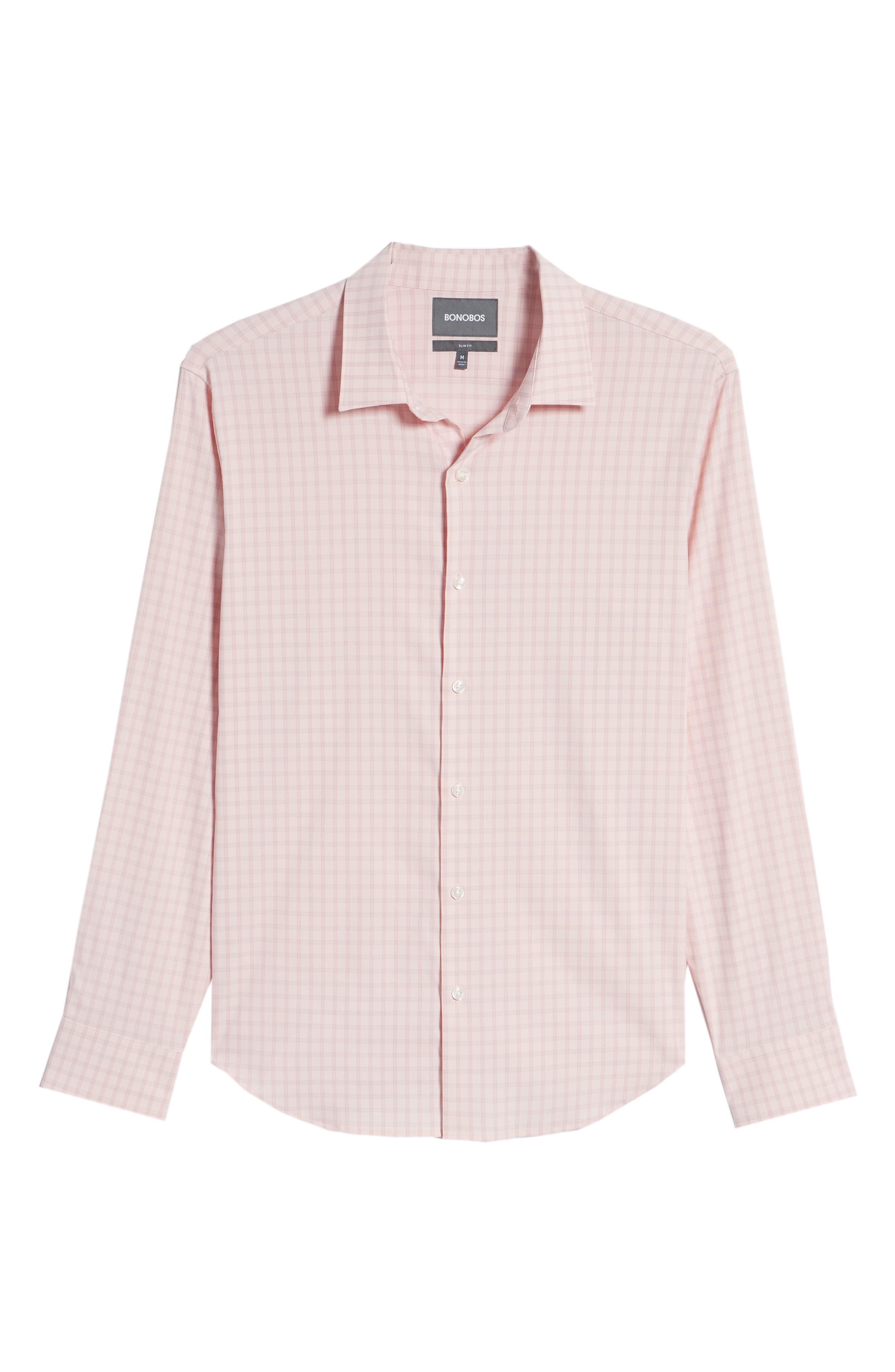 Slim Fit Check Performance Sport Shirt,                             Alternate thumbnail 6, color,                             Gulf Point Plaid - Skiivy Pink